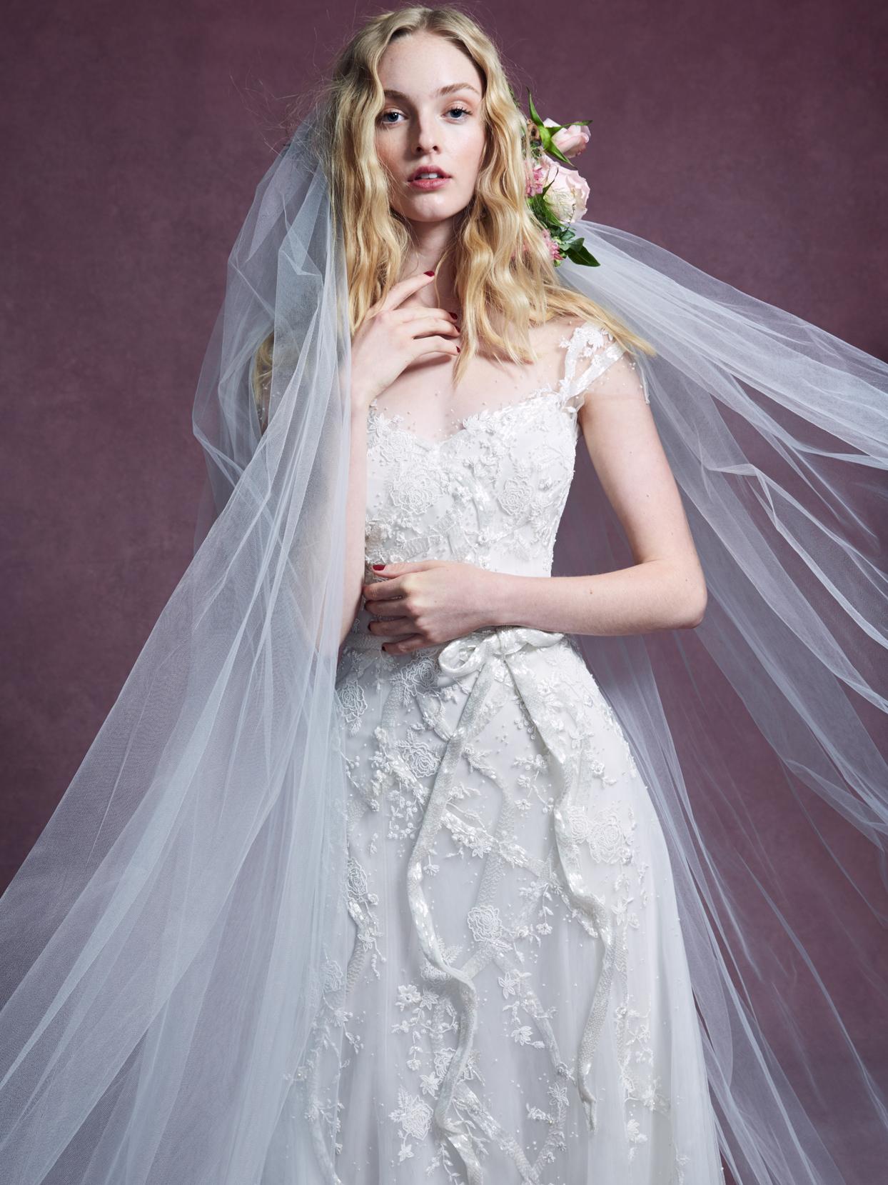 Marchesa thin cap sleeve sweetheart lace bow belt wedding dress fall 2020