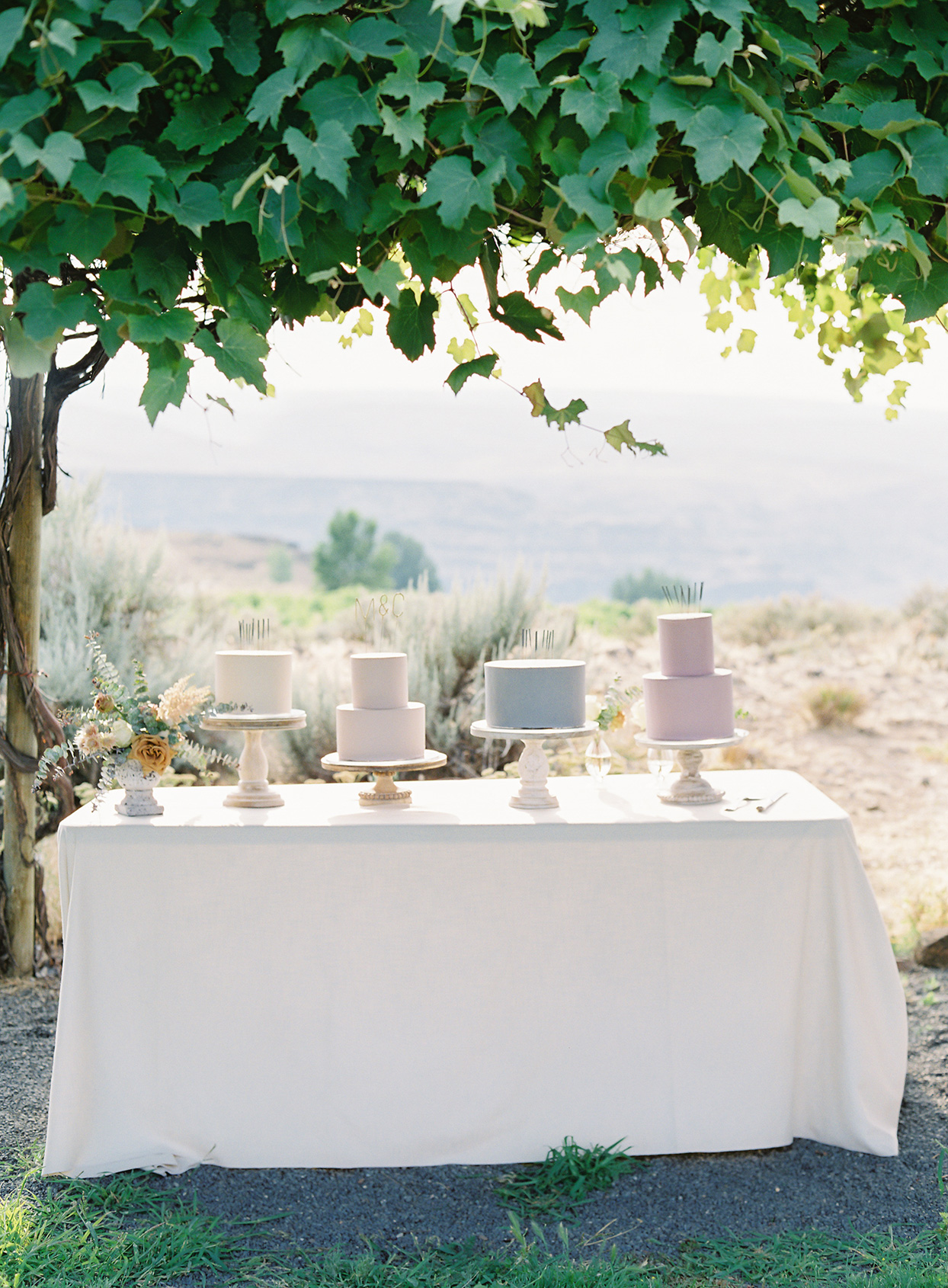 micaela curtis wedding cakes on white linen table