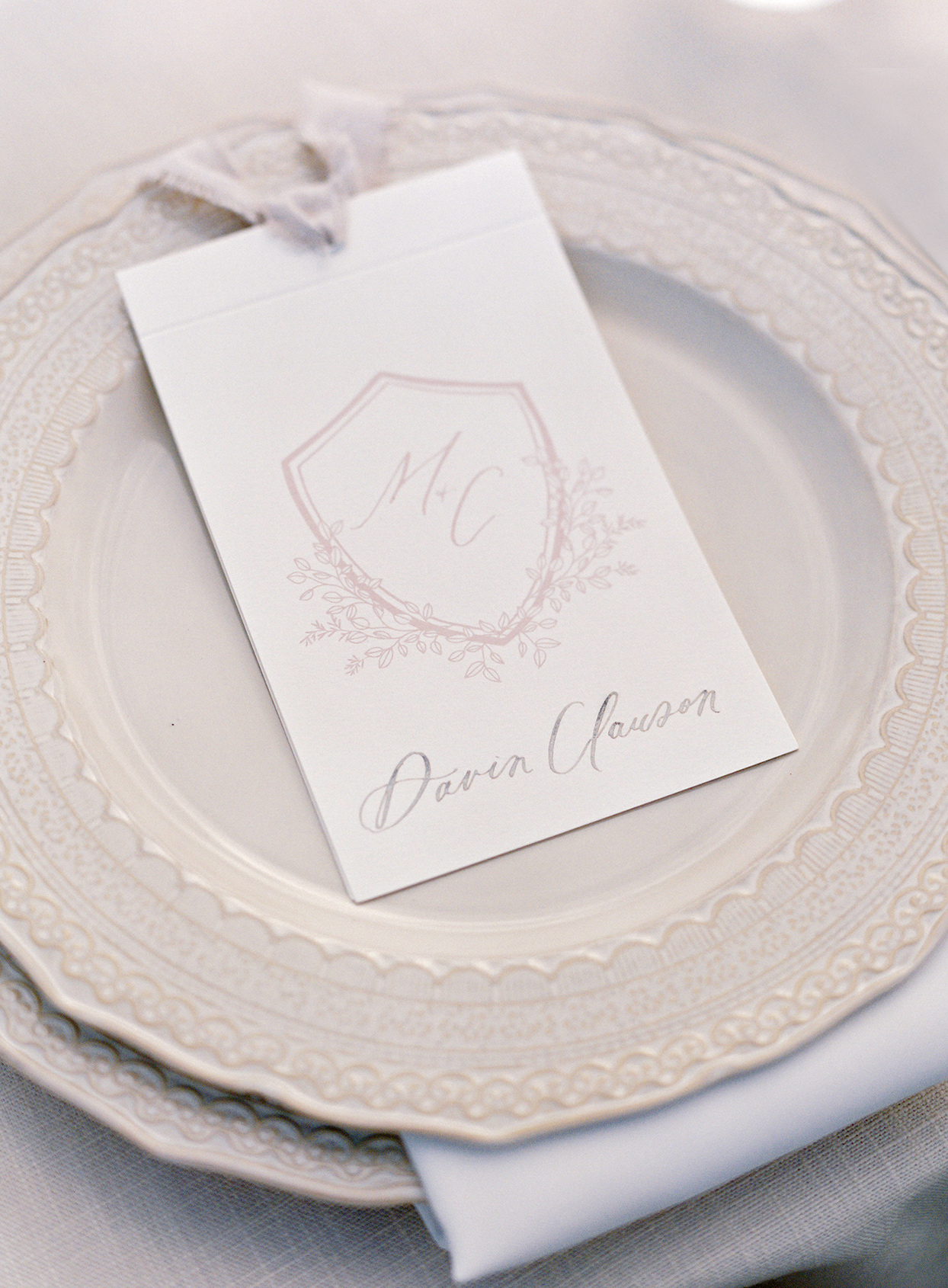 micaela curtis wedding crest on place card