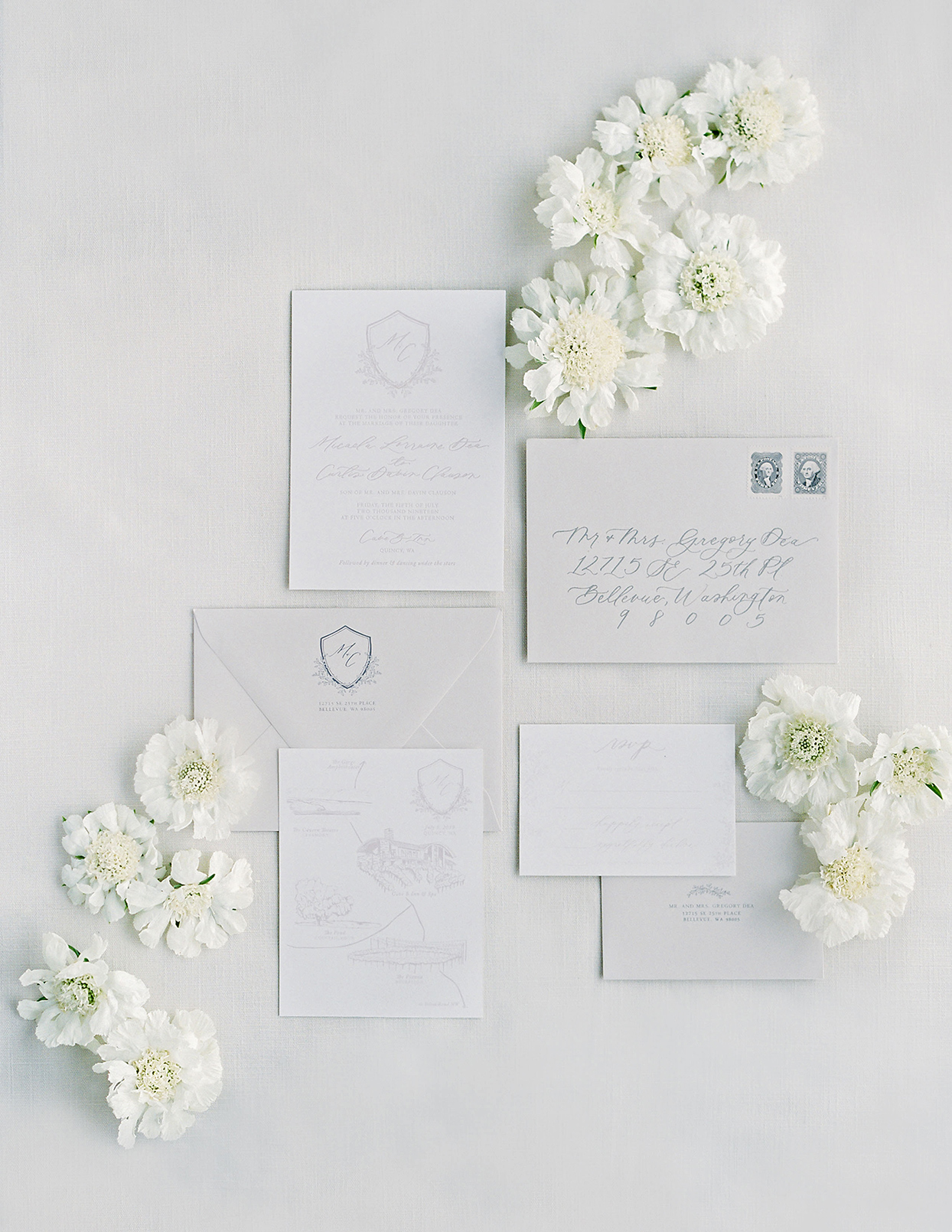 micaela curtis white wedding invites