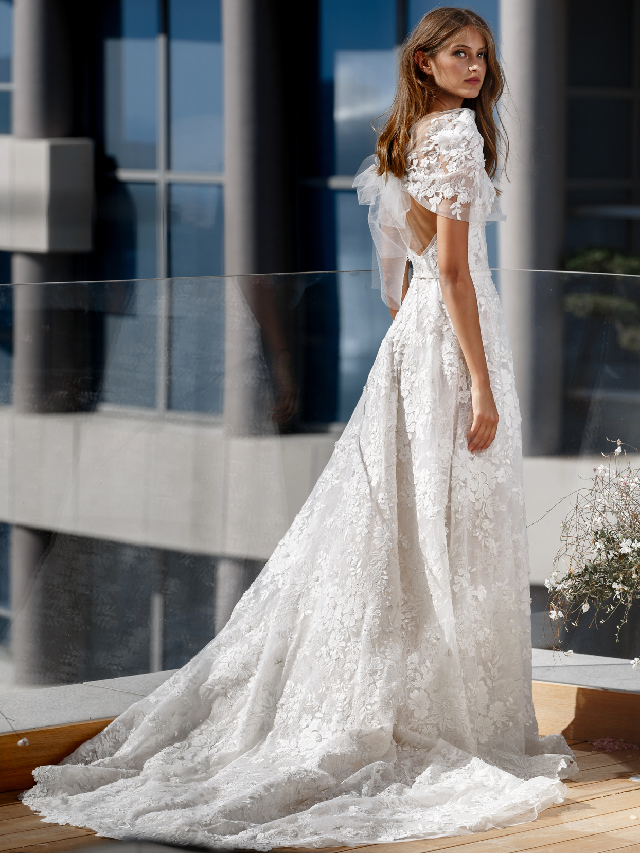 Mira Zwillinger strapless textured floral lace pearl accent a-line wedding dress fall 2020