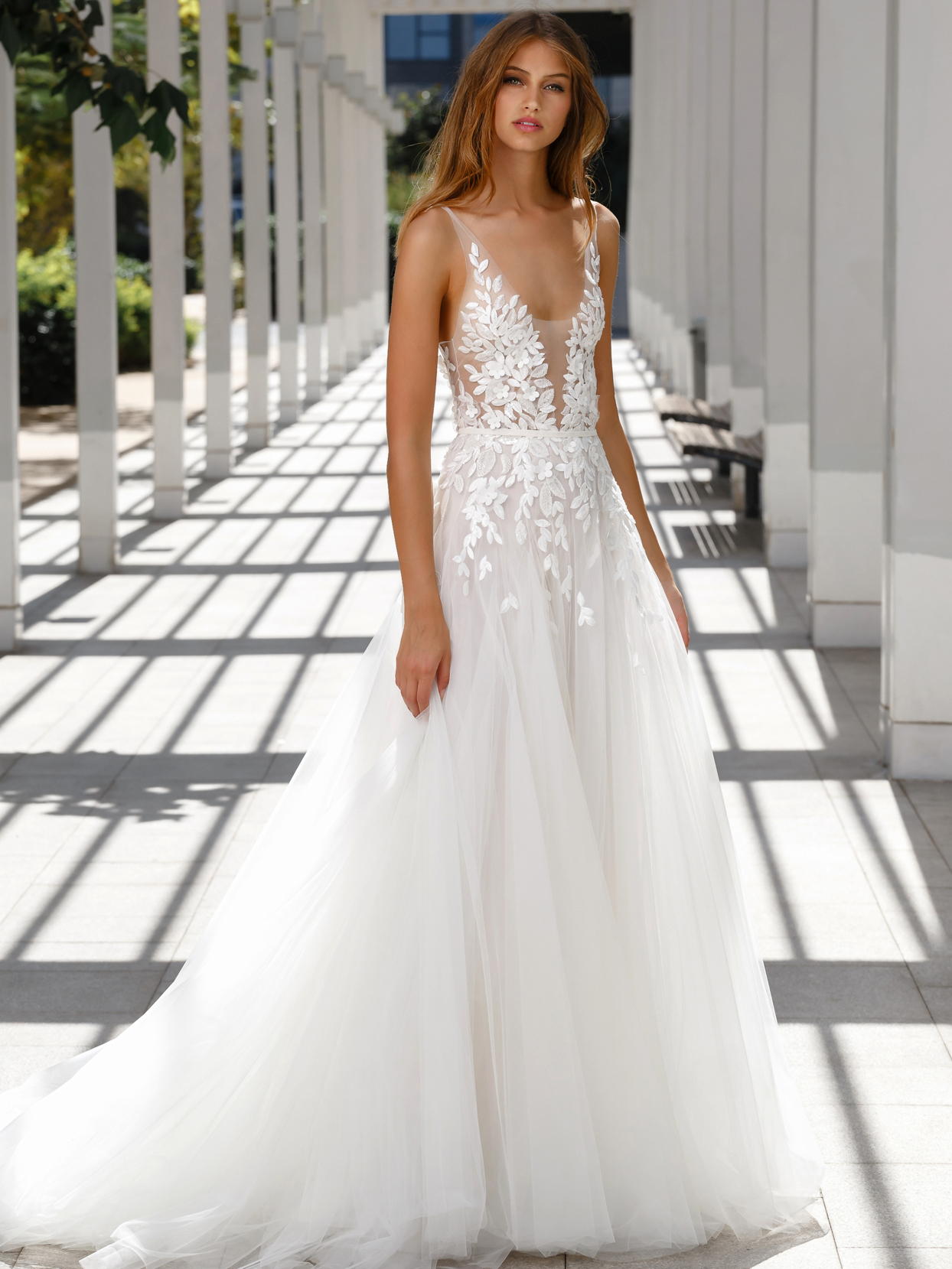 Mira Zwillinger plunging v-neck sparkling leaf applique a-line tulle wedding dress fall 2020