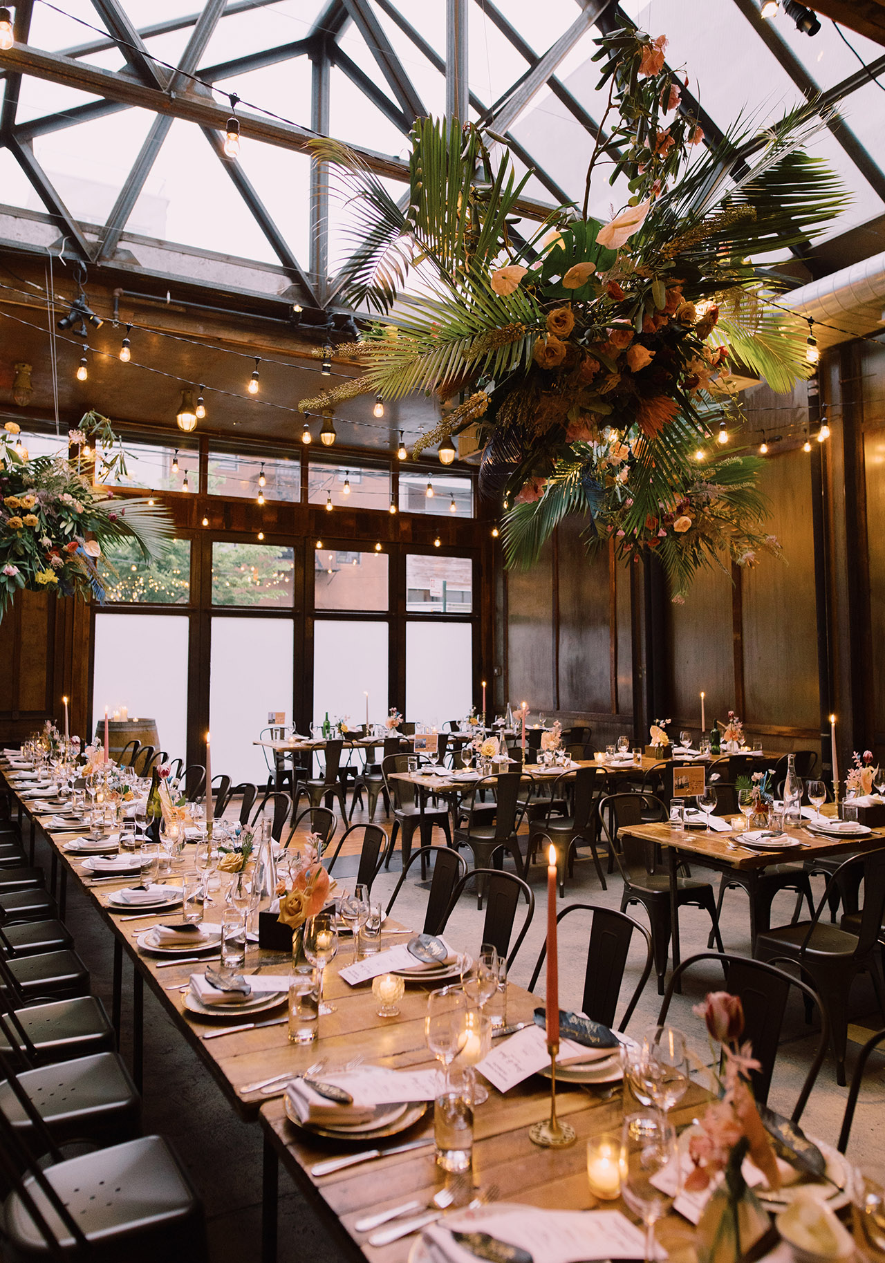 lighted atrium wedding venue harvest room dinning
