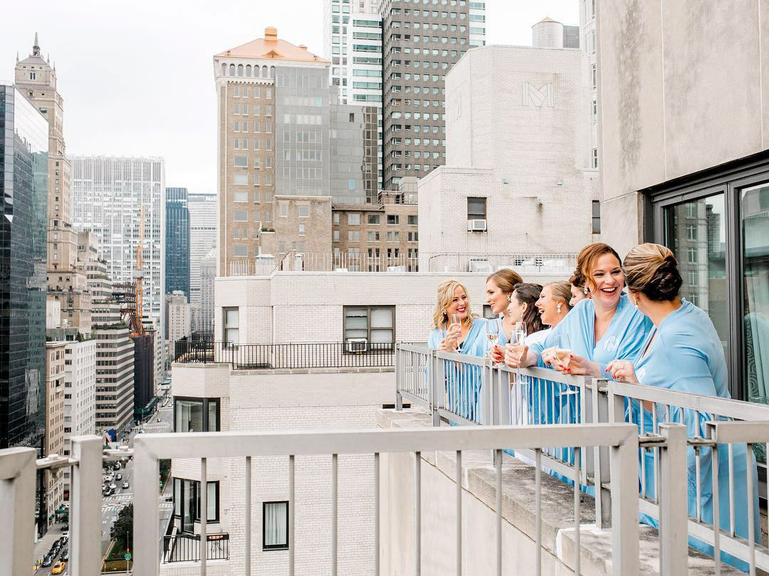 park avenue balcony view bridesmaids