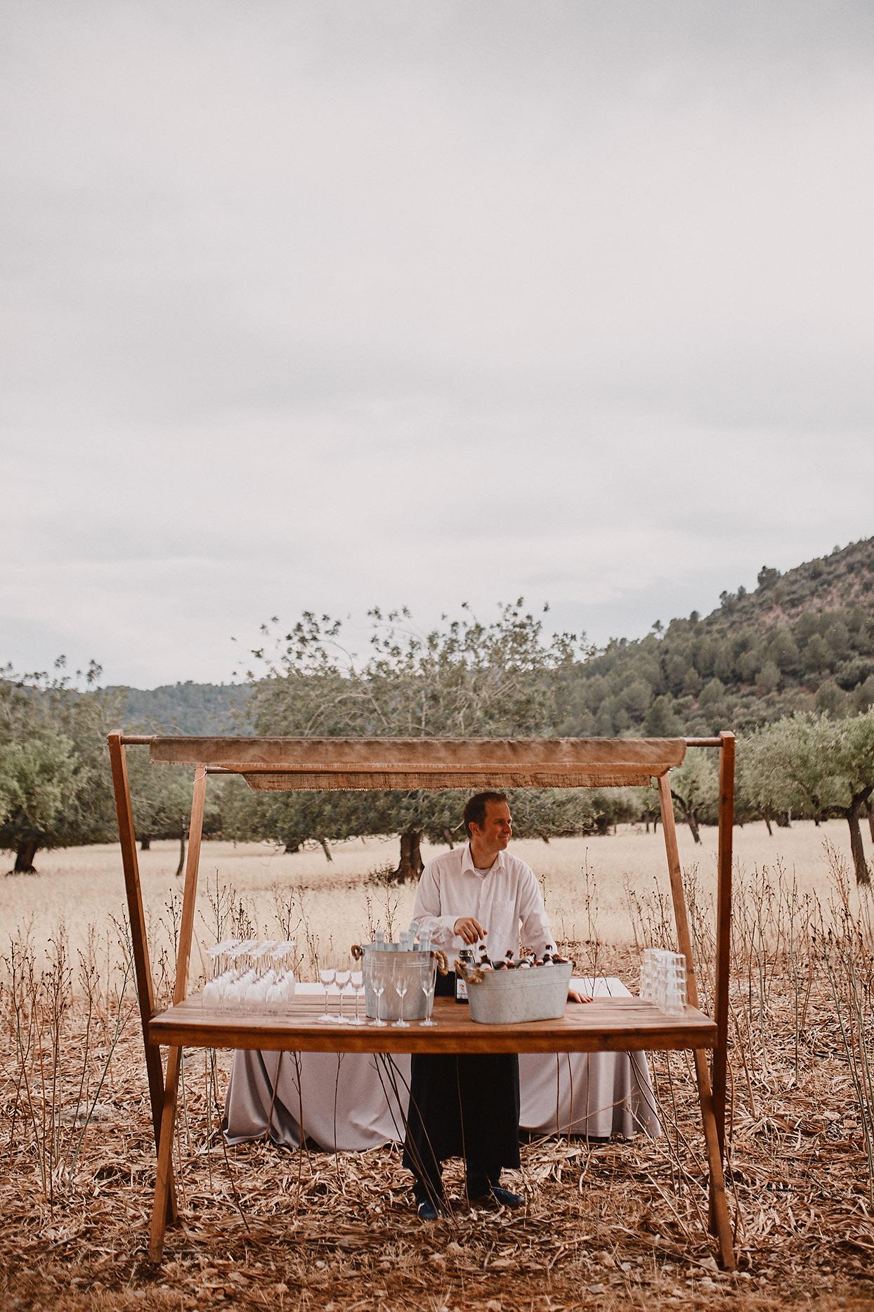 pomme daniel wedding bar in field