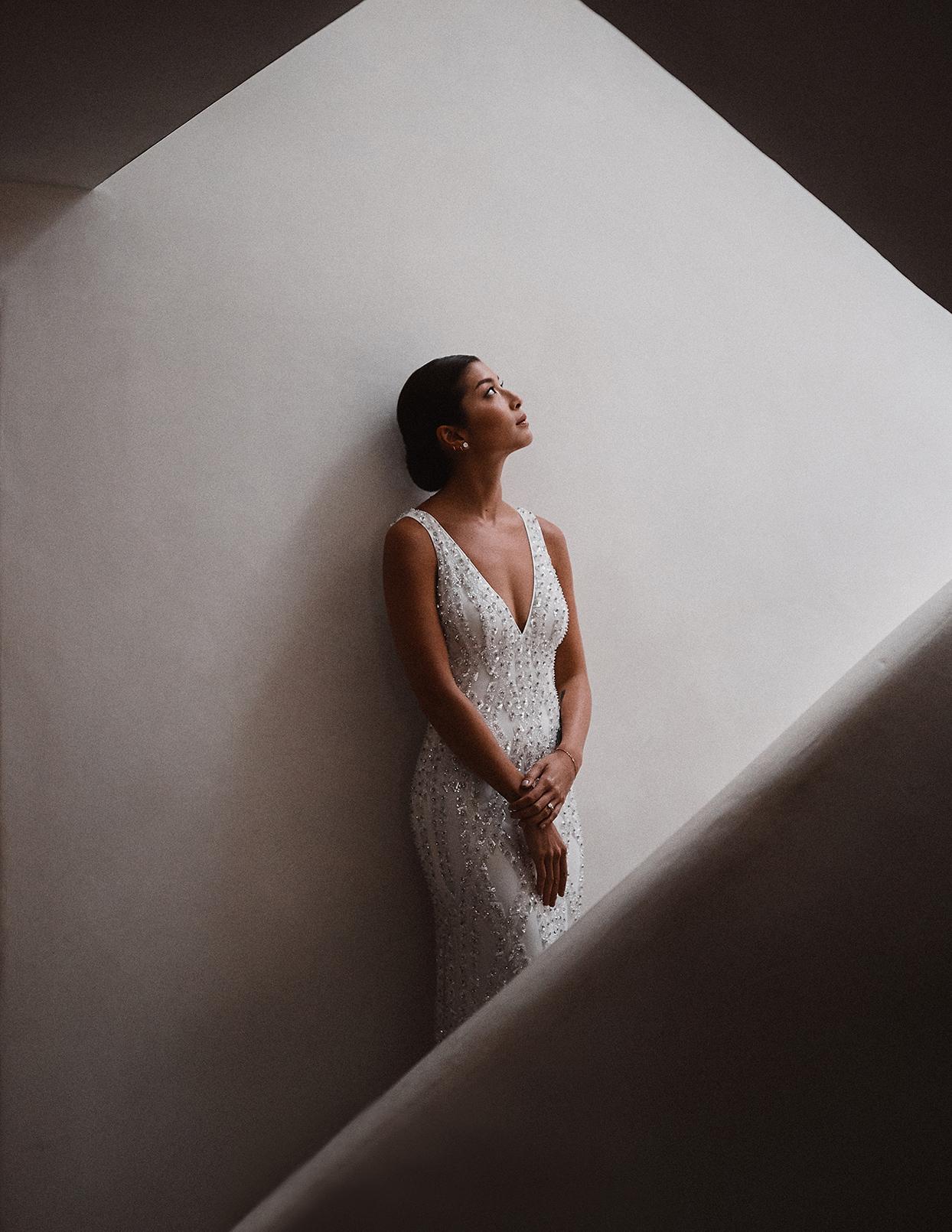 pomme daniel wedding bride in stairwell