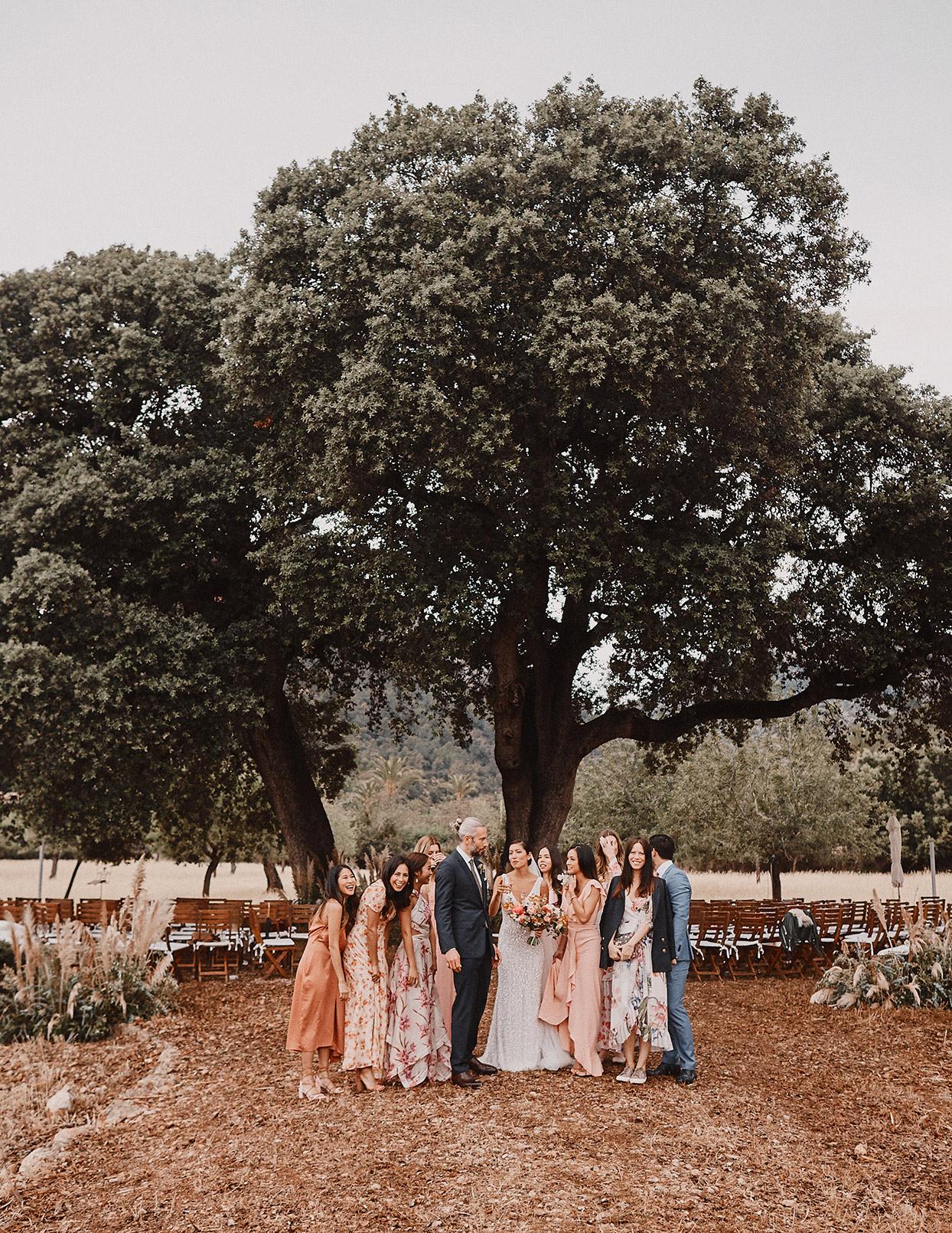 pomme daniel wedding party under tree