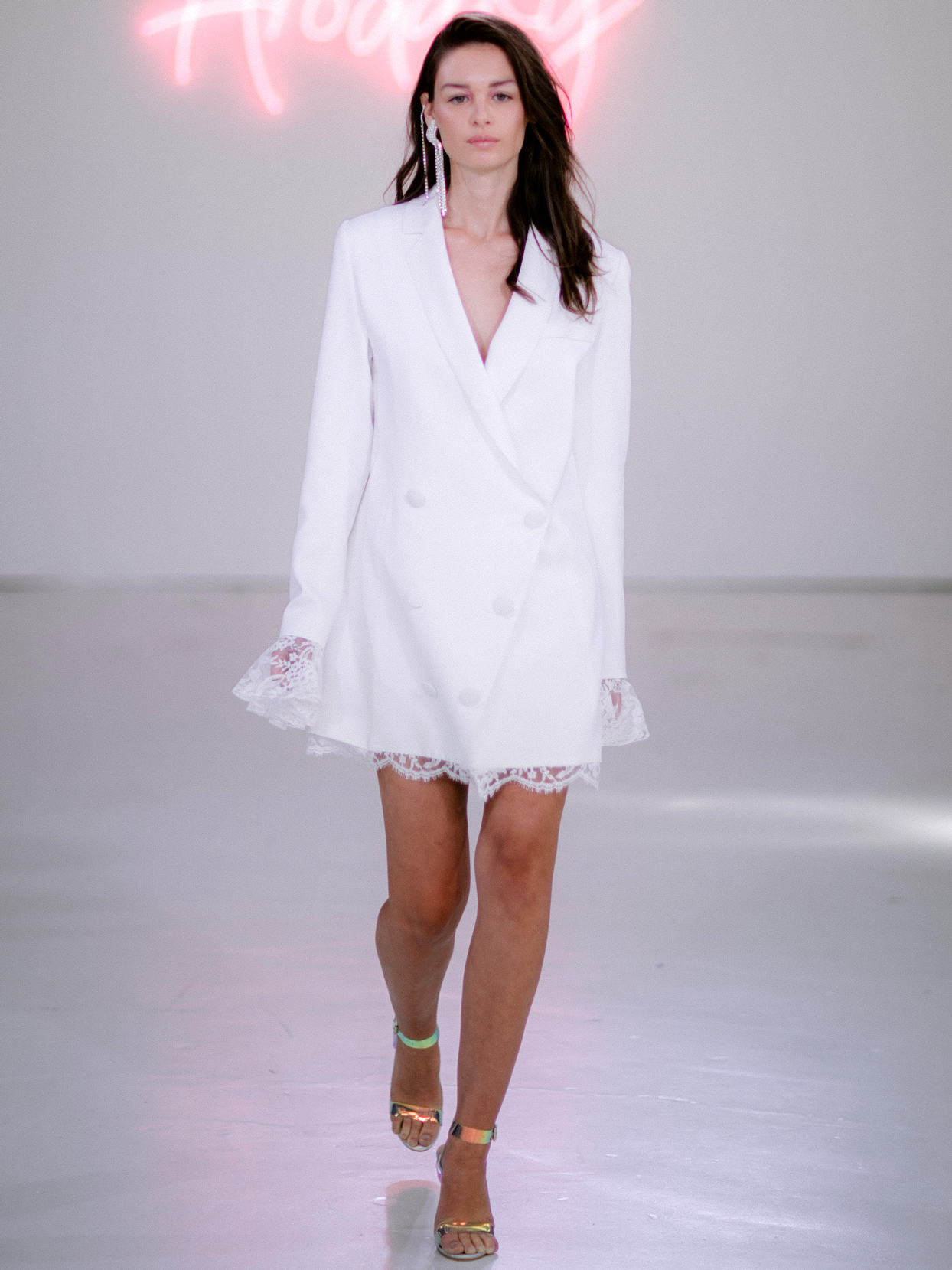 Rime Arodaky X The Mews Bridal double button up lace detail long sleeve mini wedding dress fall 2020