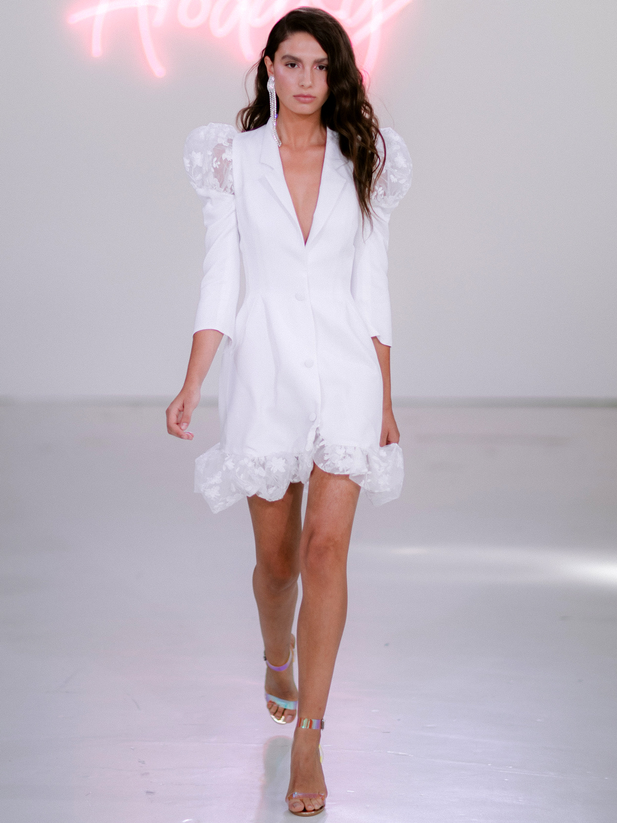 Rime Arodaky X The Mews Bridal button up mini three-quarter sleeves wedding dress fall 2020