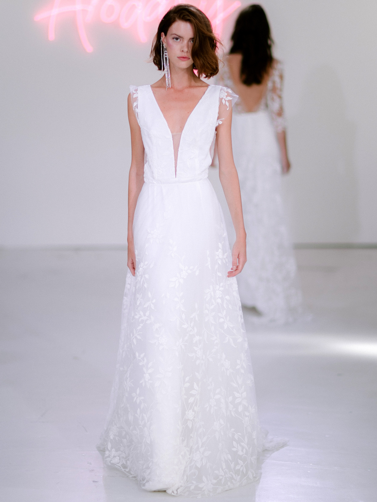 Rime Arodaky X The Mews Bridal plunging v-neck lace cap sleeves wedding dress fall 2020