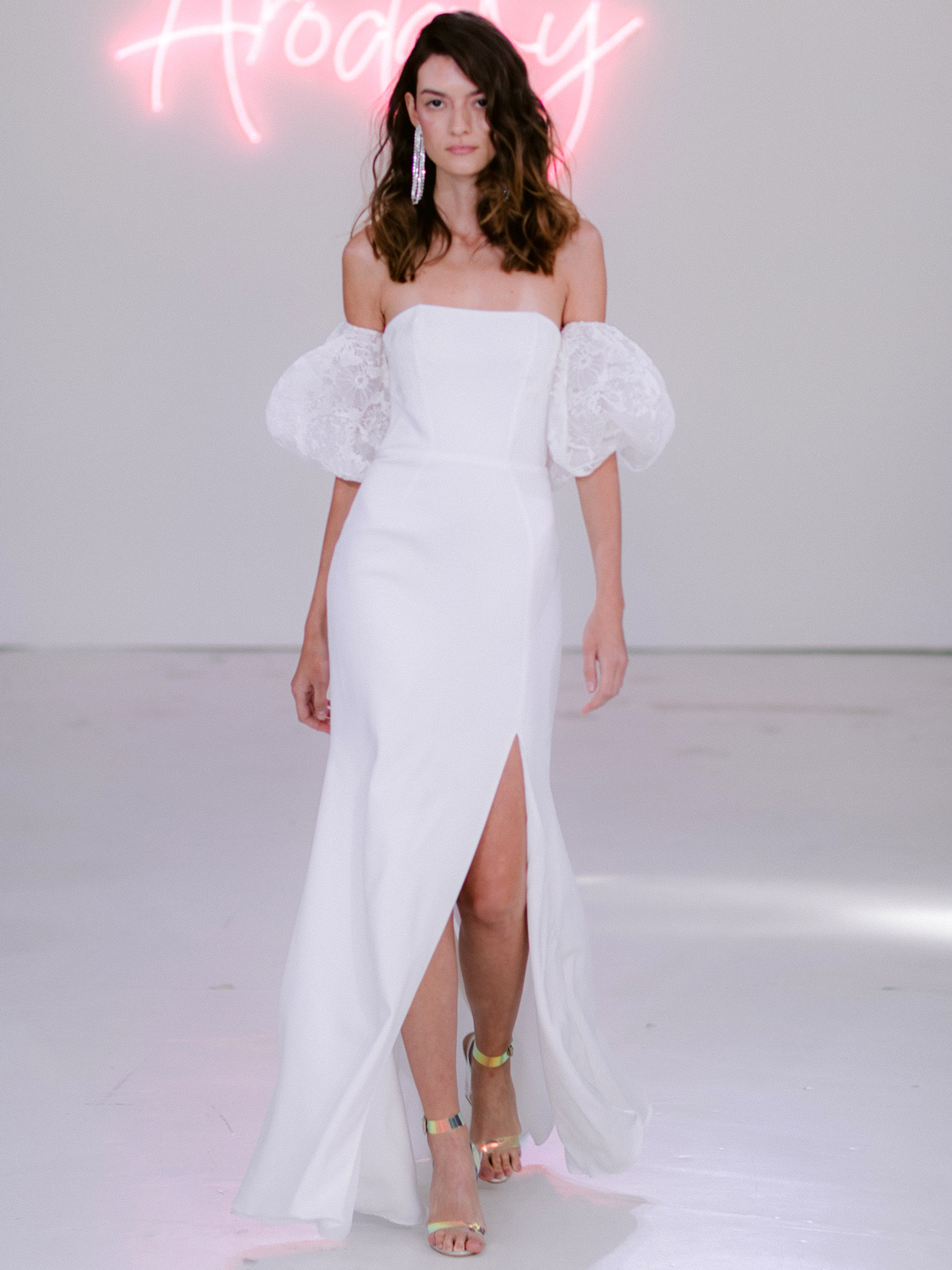 Rime Arodaky X The Mews Bridal off-the-shoulder puffed sleeves side slit wedding dress fall 2020