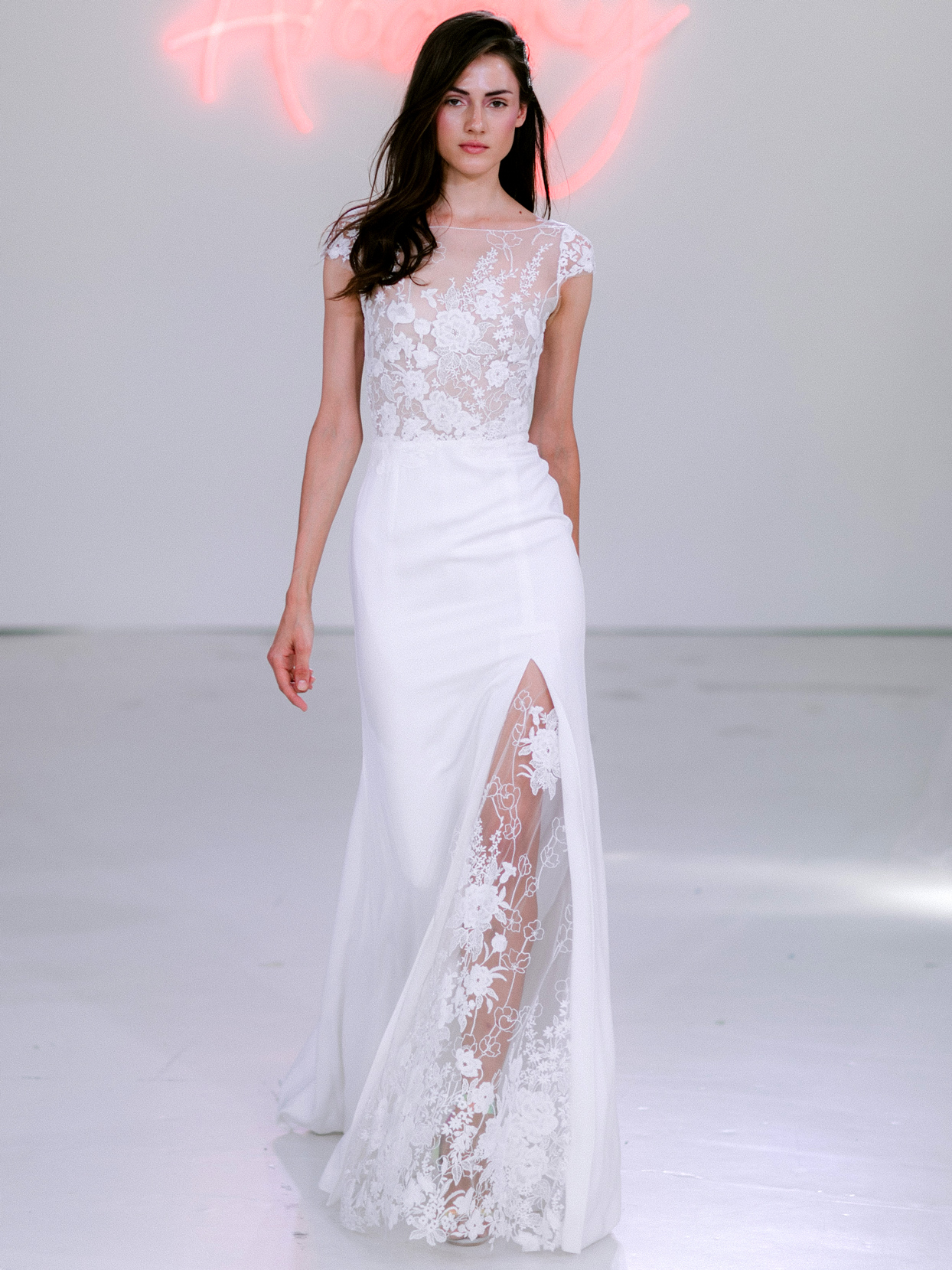 Rime Arodaky X The Mews Bridal sheer lace illusion crew neck cap sleeve wedding dress fall 2020