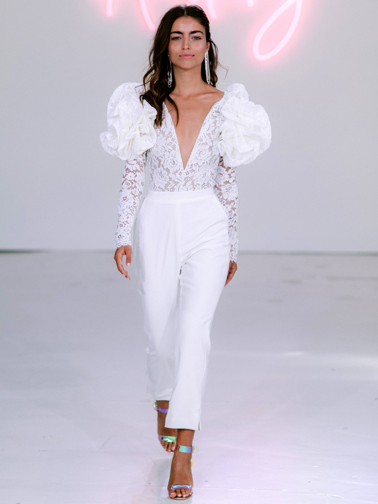 Rime Arodaky X The Mews Bridal puffed lace long sleeves jumpsuit wedding dress fall 2020