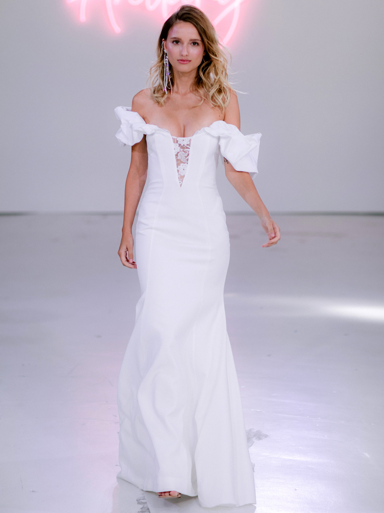 Rime Arodaky X The Mews Bridal off-the-shoulder lace plunging v-neck wedding dress fall 2020