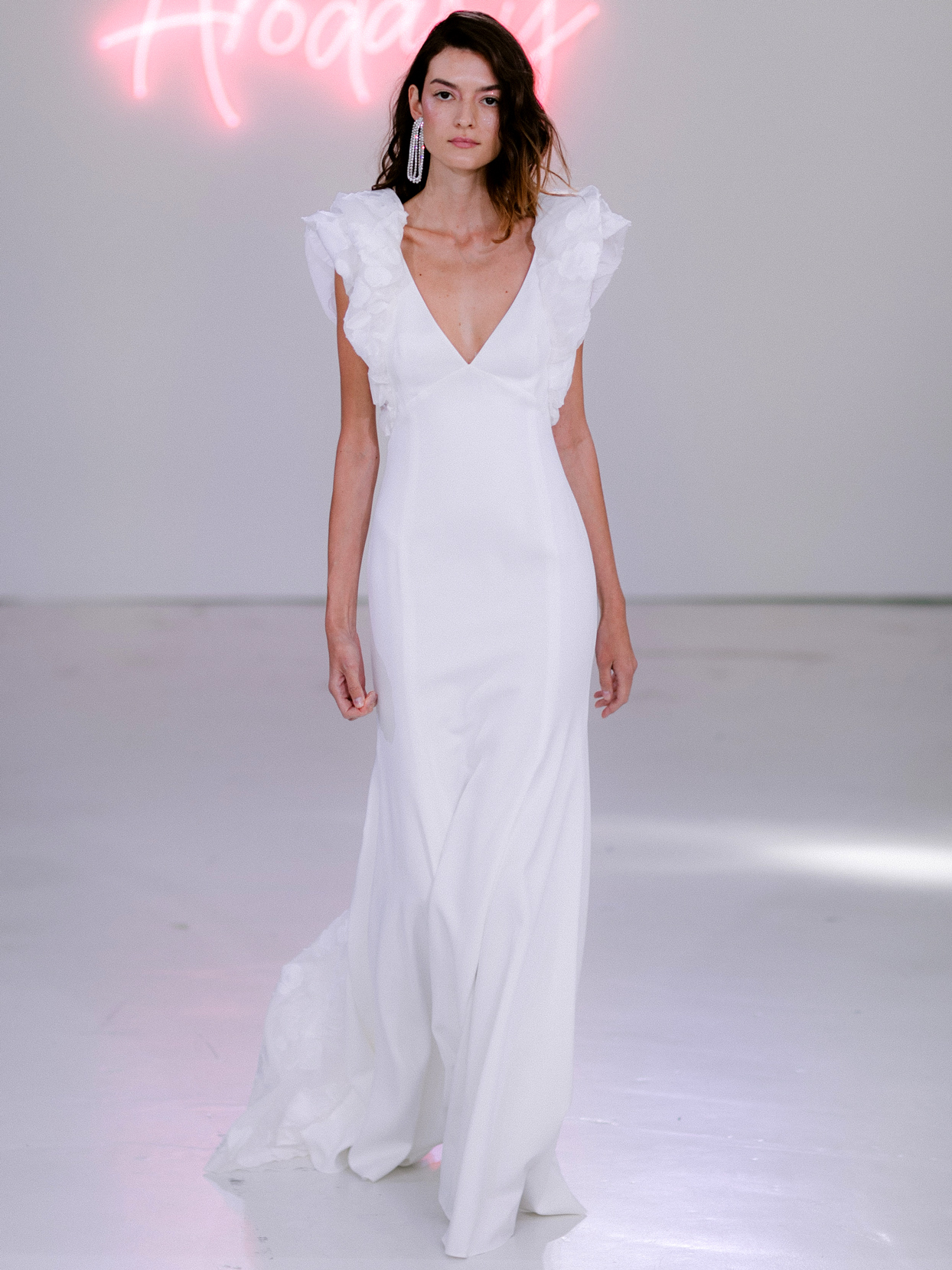 Rime Arodaky X The Mews Bridal deep v-neck short puffed sleeves wedding dress fall 2020