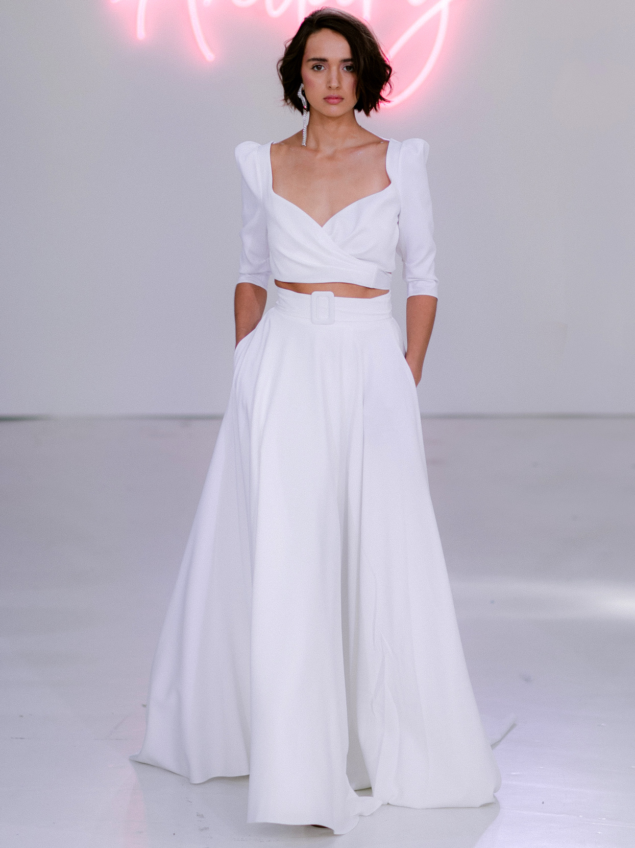 Rime Arodaky X The Mews Bridal two piece belt wedding dress fall 2020
