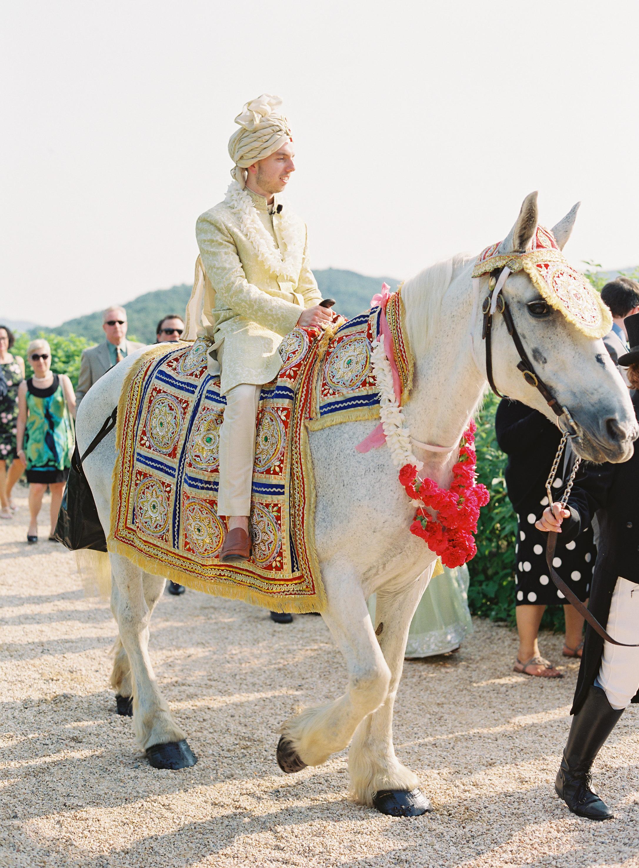 ronita ryan wedding groom horse entrance