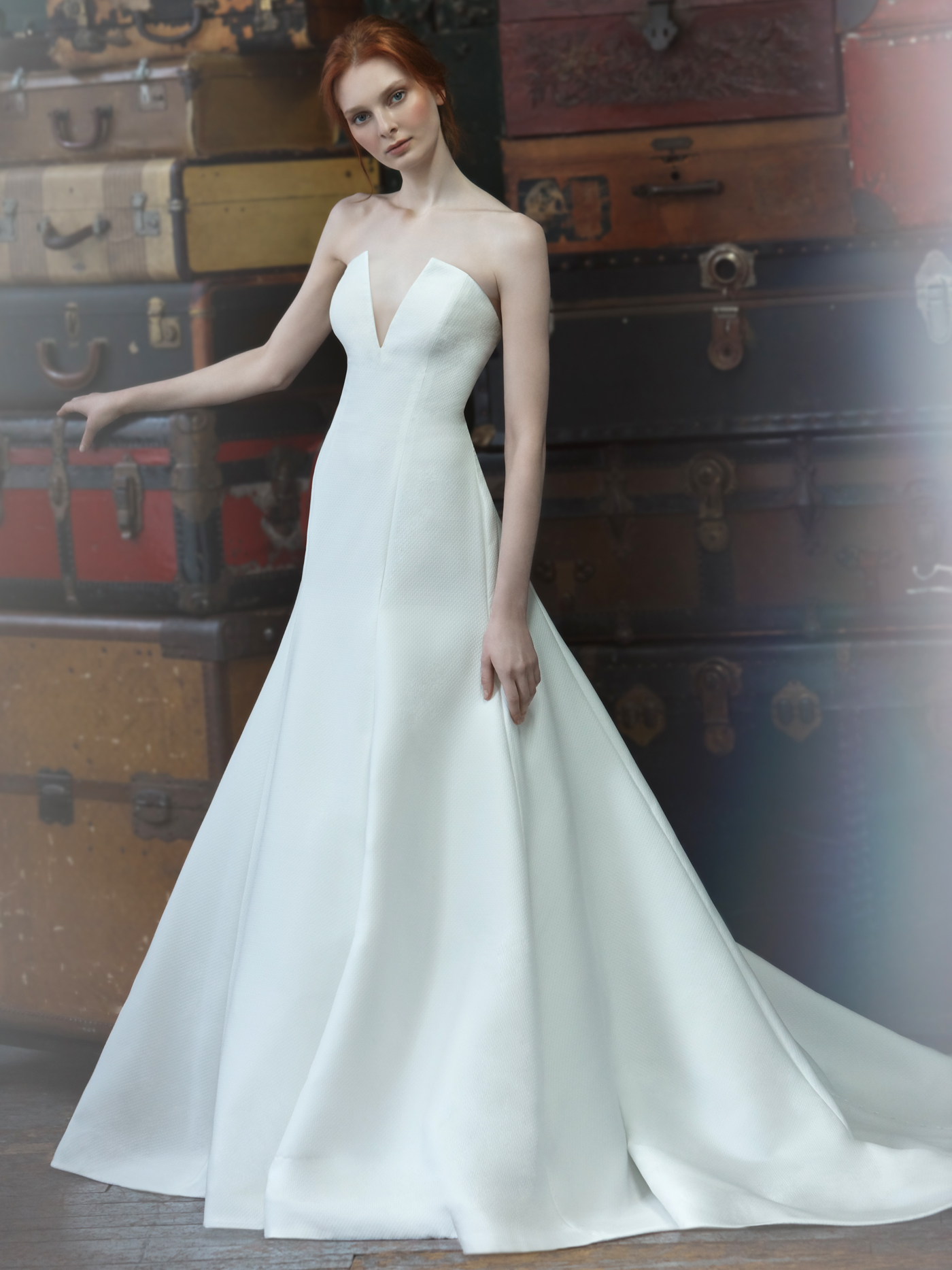 Sareh Nouri deep v-neck strapless a-line wedding dress fall 2020