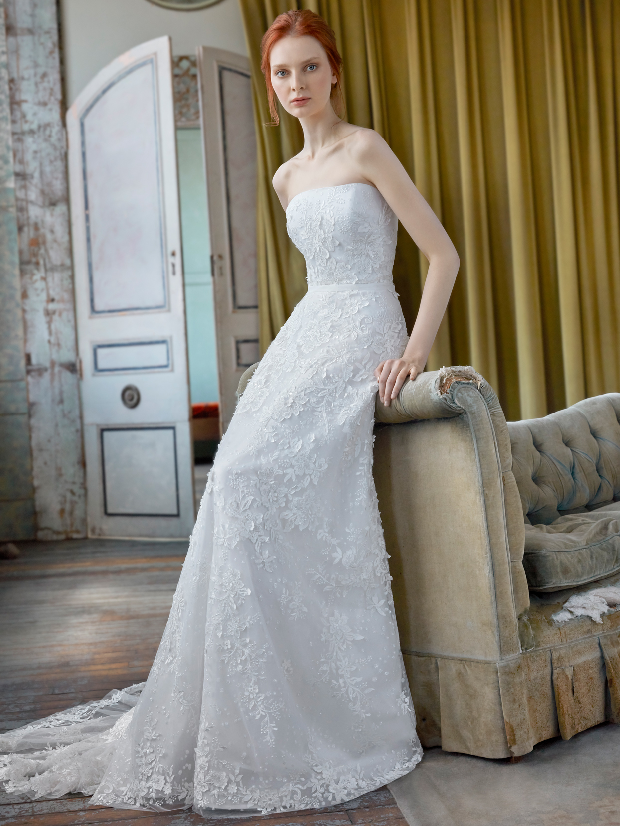 Sareh Nouri strapless straight across neckline floral applique lace a-line wedding dress fall 2020