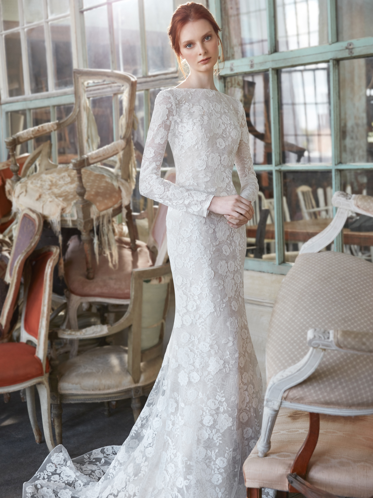 Sareh Nouri high neck long sleeve lace fit and flare wedding dress fall 2020