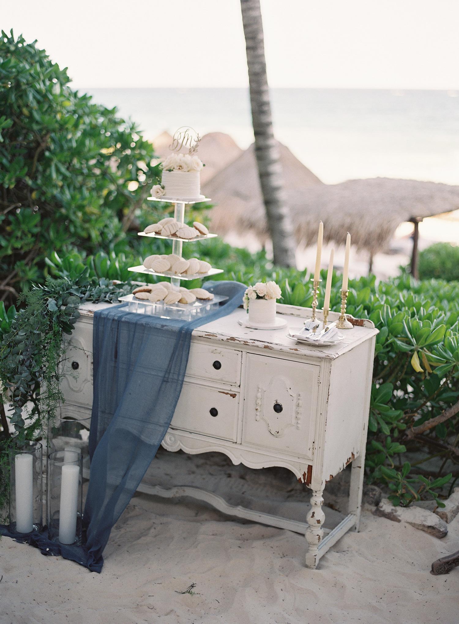 rustic white cabinet dessert table