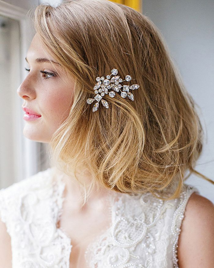 blonde haired woman wearing Caprice Crystal Comb