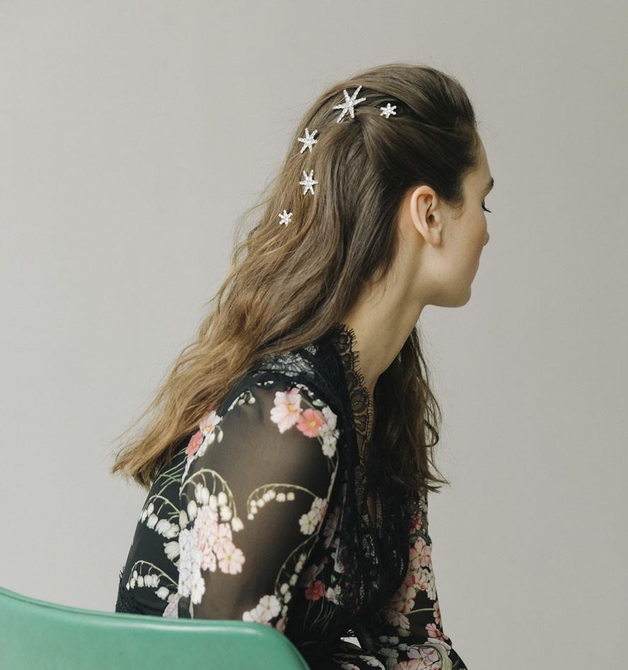 long brown-haired woman wearing Vespera Bobby Pin Set