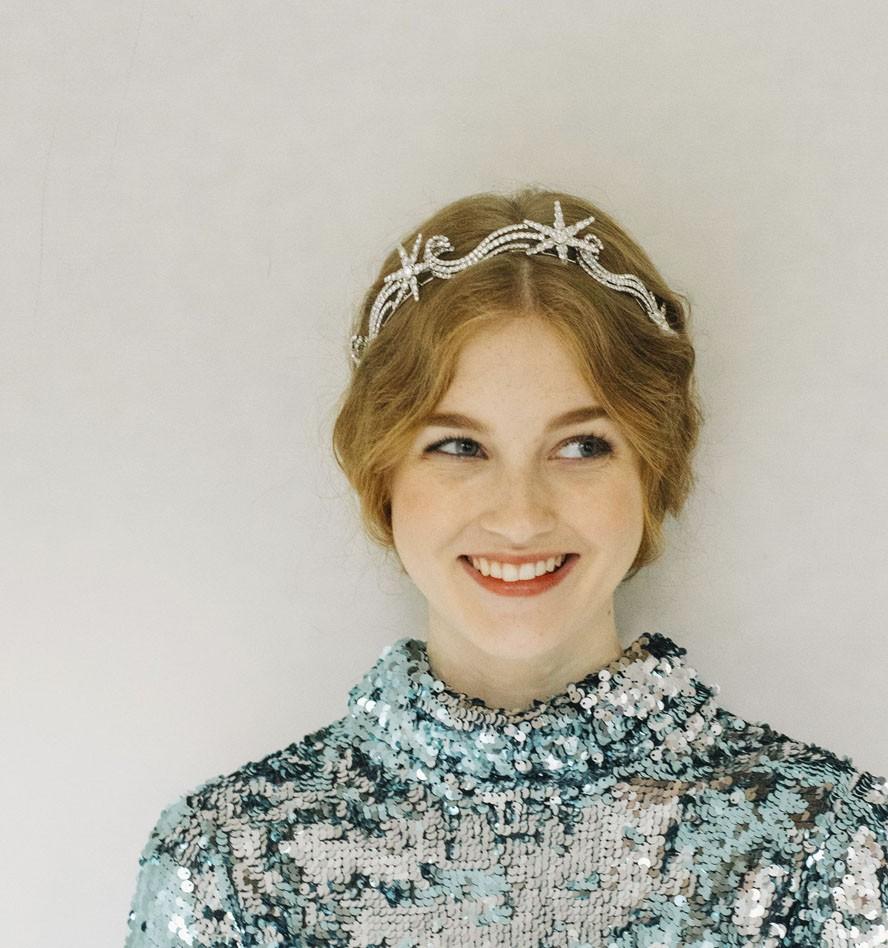 ash blonde-haired woman wearing Celestia Tiara