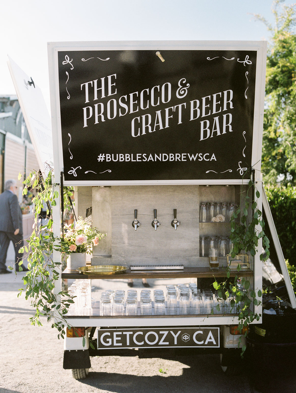 prosecco and craft beer bar cart