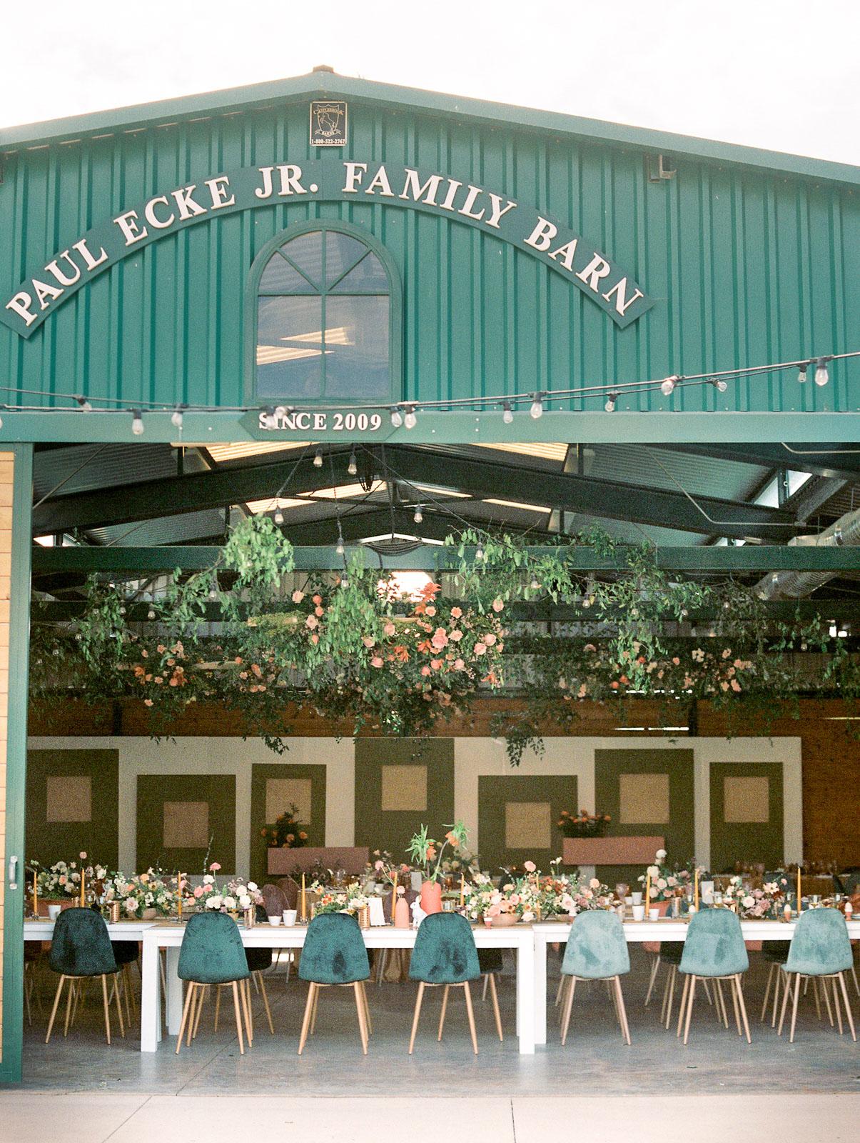 paul ecke jr family barn reception hall area
