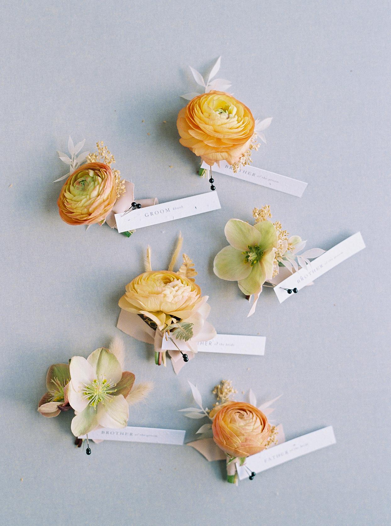 thuy kahn wedding boutonnieres