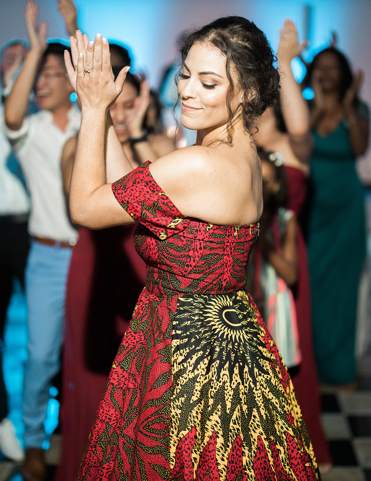 victoria tk wedding bride's red and yellow african reception dress