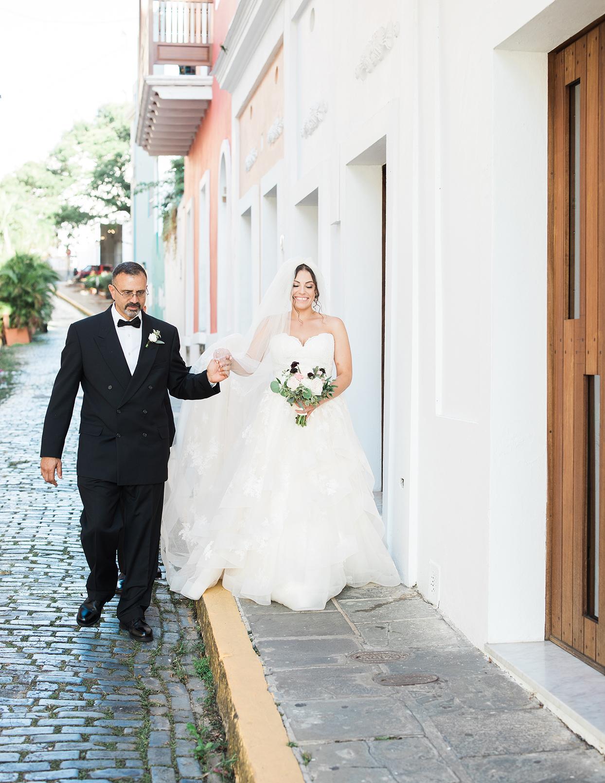 victoria tk wedding bride and dad walking