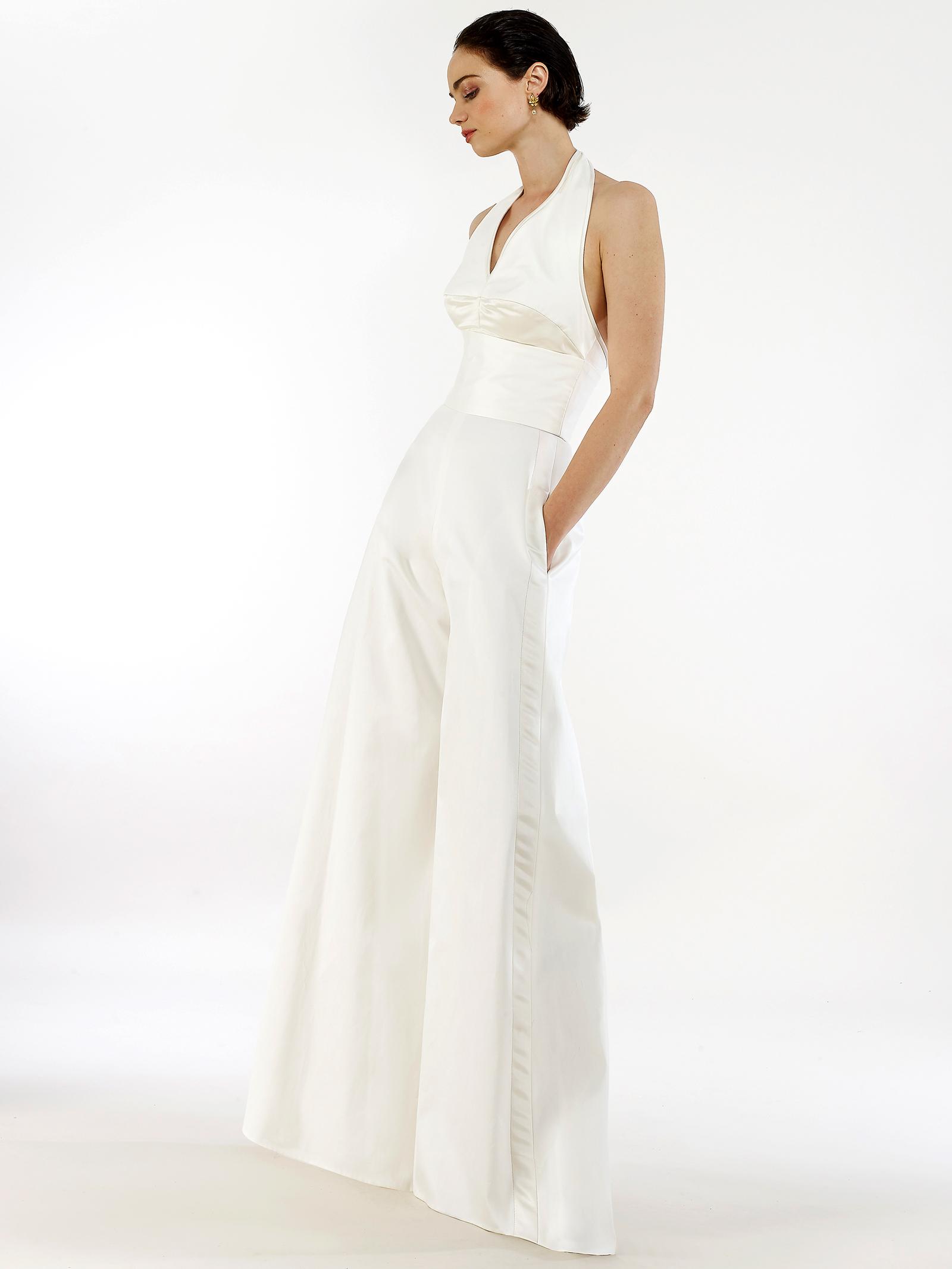 Steven Birnbaum halter top v-neck pockets jumpsuit wedding dress fall 2020