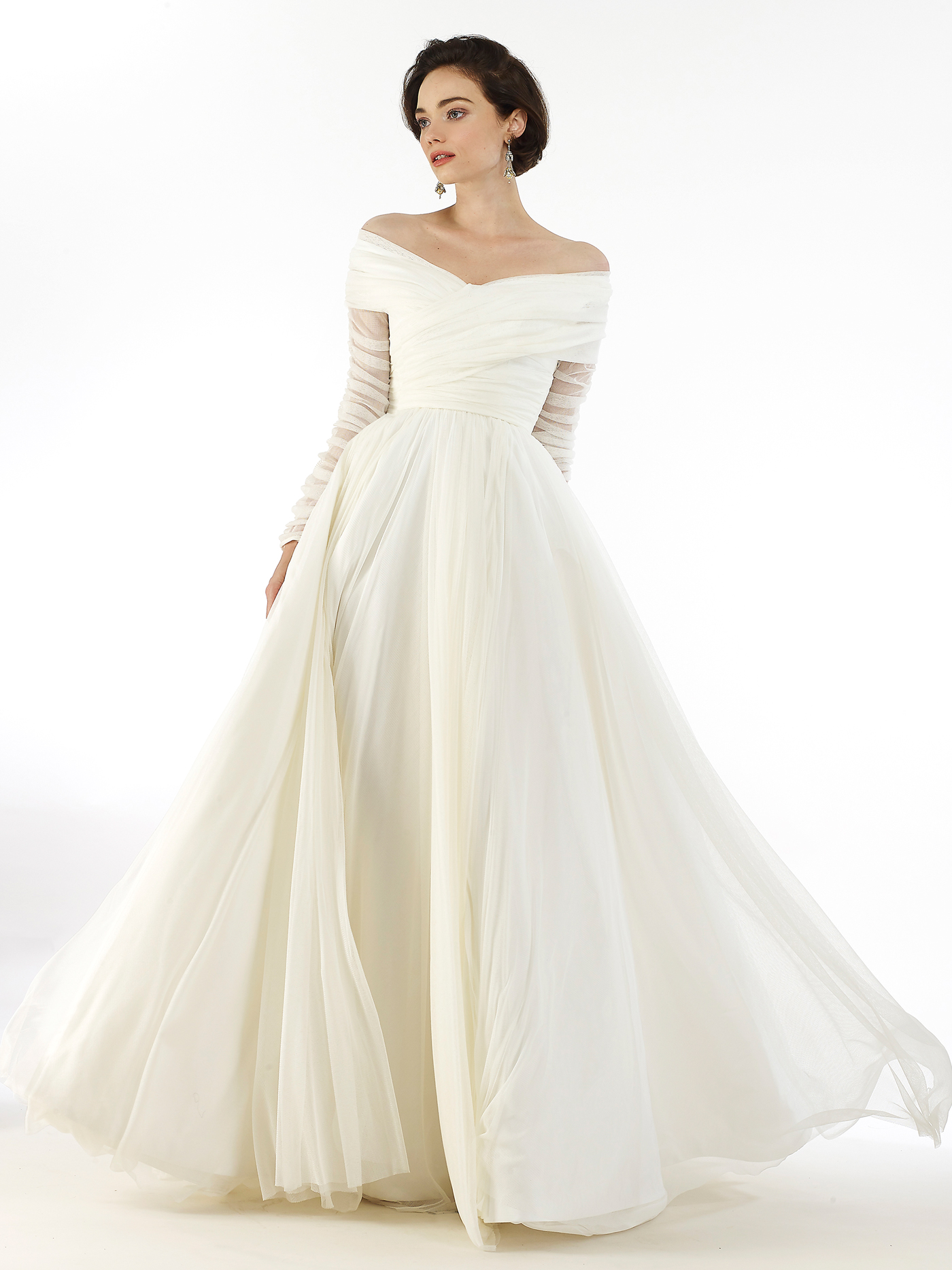Steven Birnbaum tulle long sleeve off the shoulder a-line wedding dress fall 2020