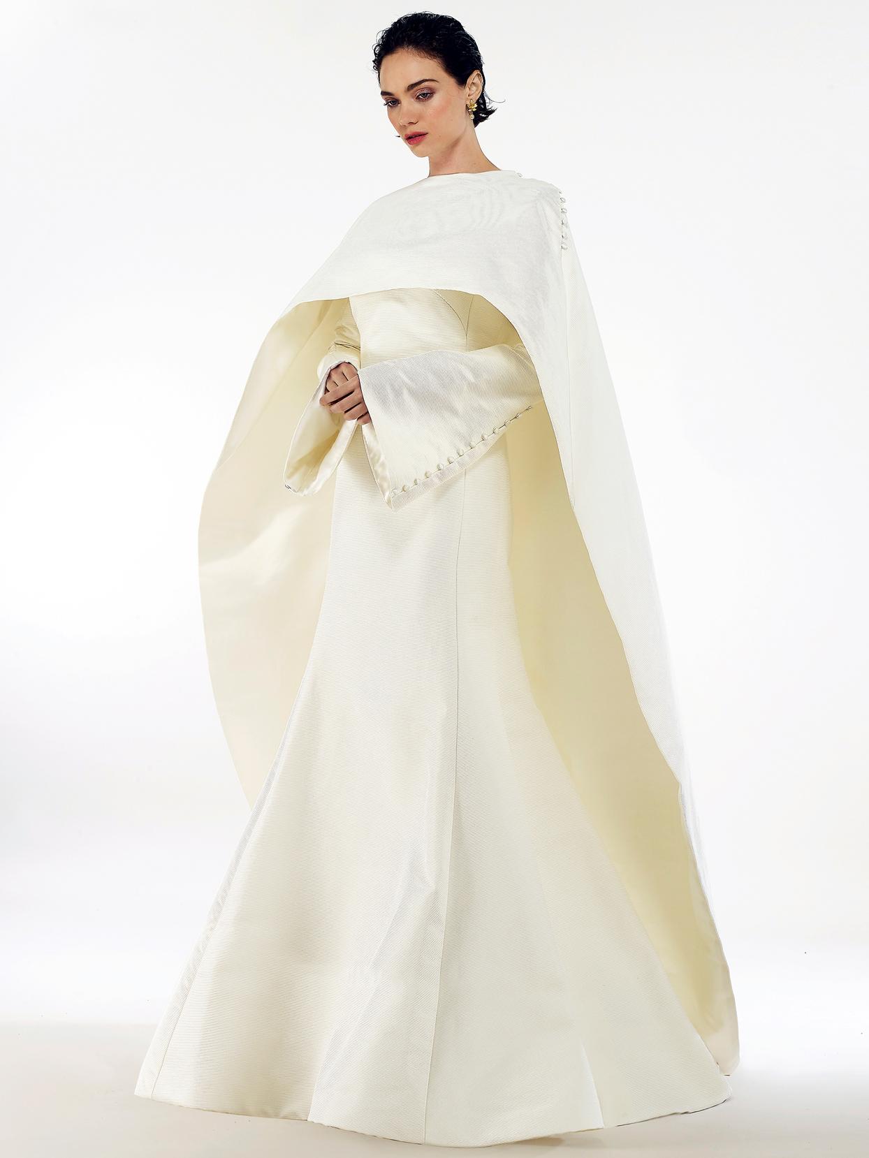 Steven Birnbaum high neck cape long sleeve mermaid wedding dress fall 2020
