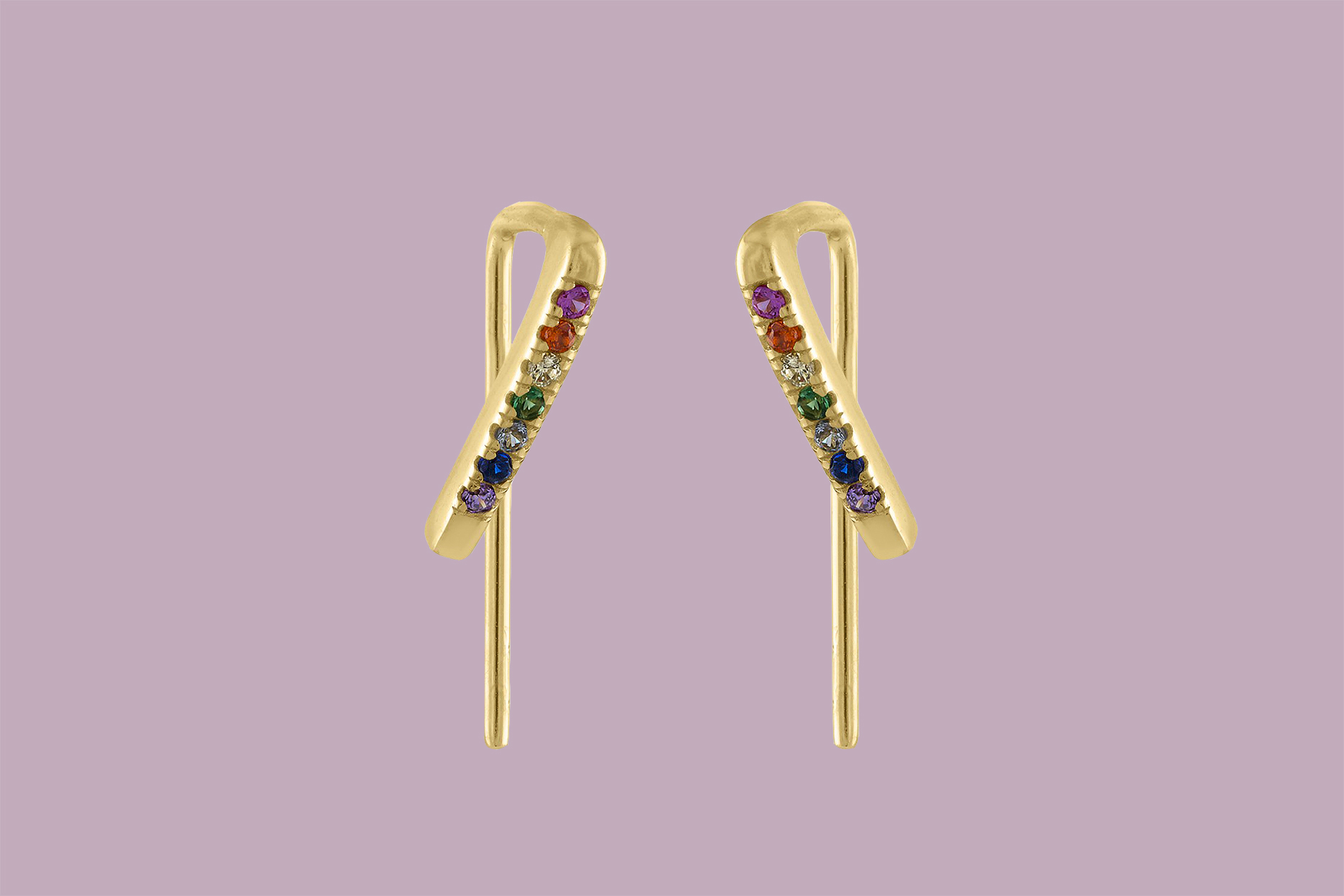 bridesmaid gift maison miru gold climber earrings