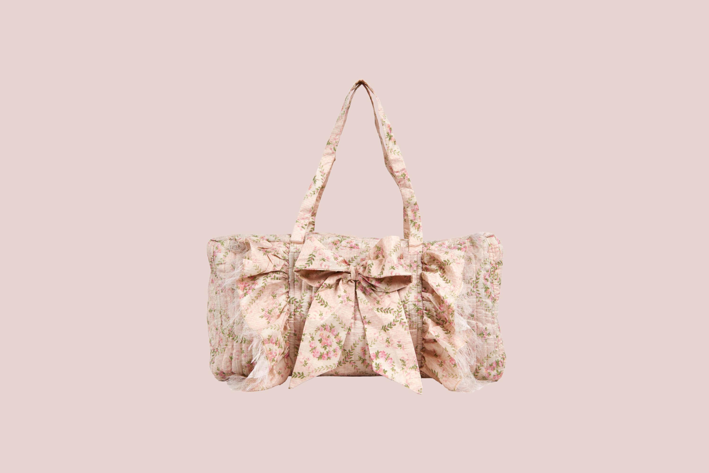 LoveShackFancy weekender bag pink floral print