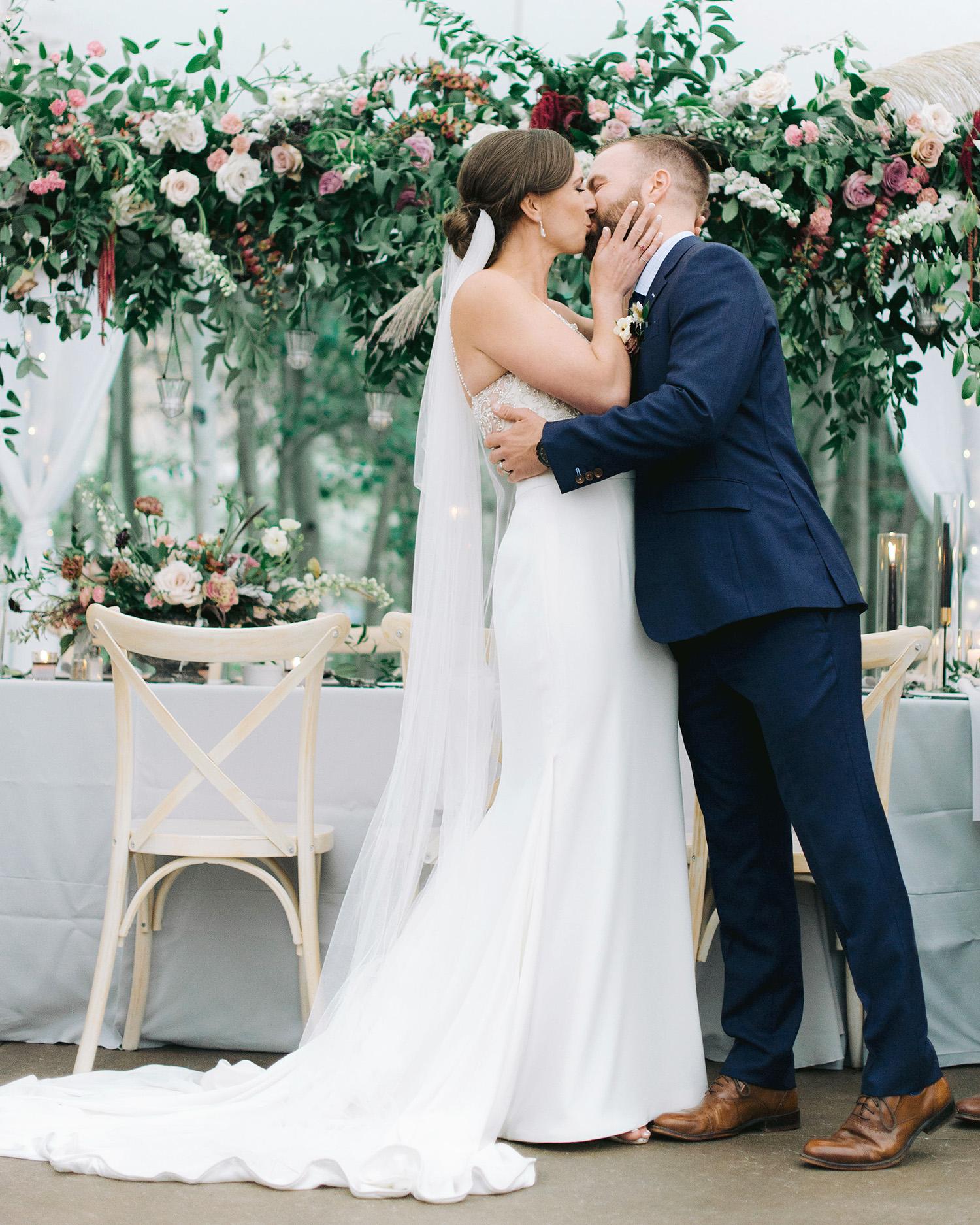 Casey Andrew Wedding Ceremony Kiss Couple