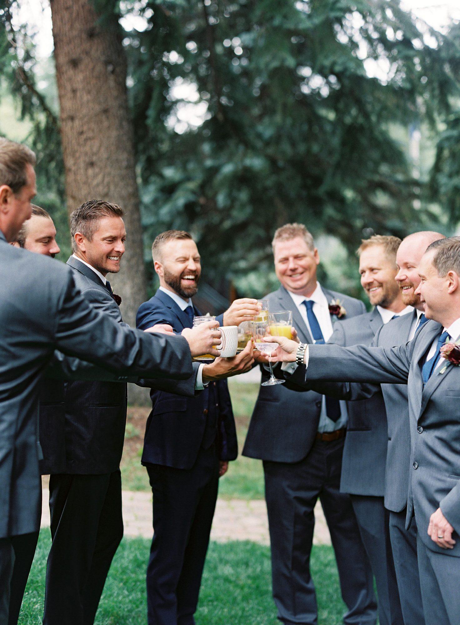 Casey Andrew Wedding Groom and Groomsmen Cheers
