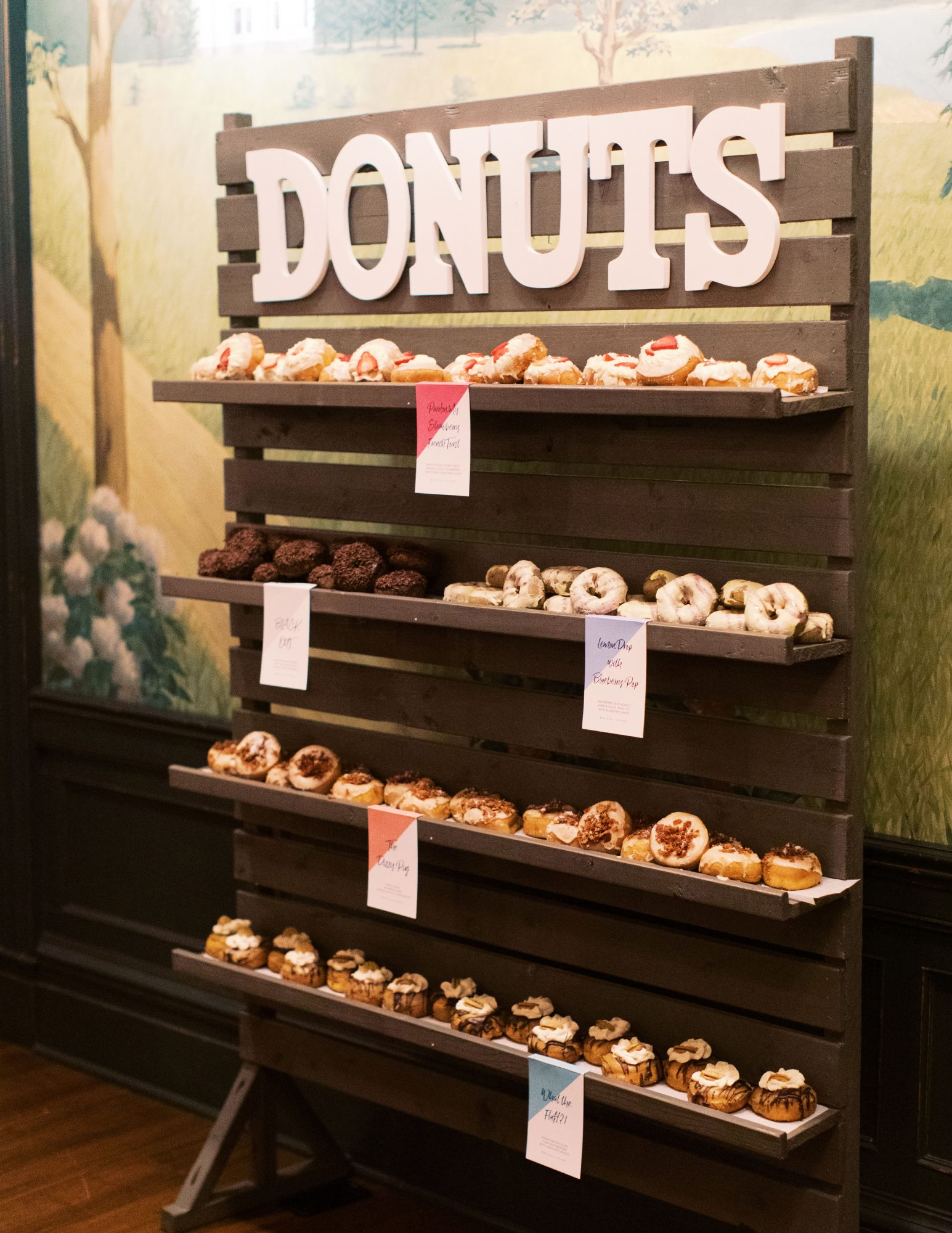 charlene jeremy wedding reception donut desserts