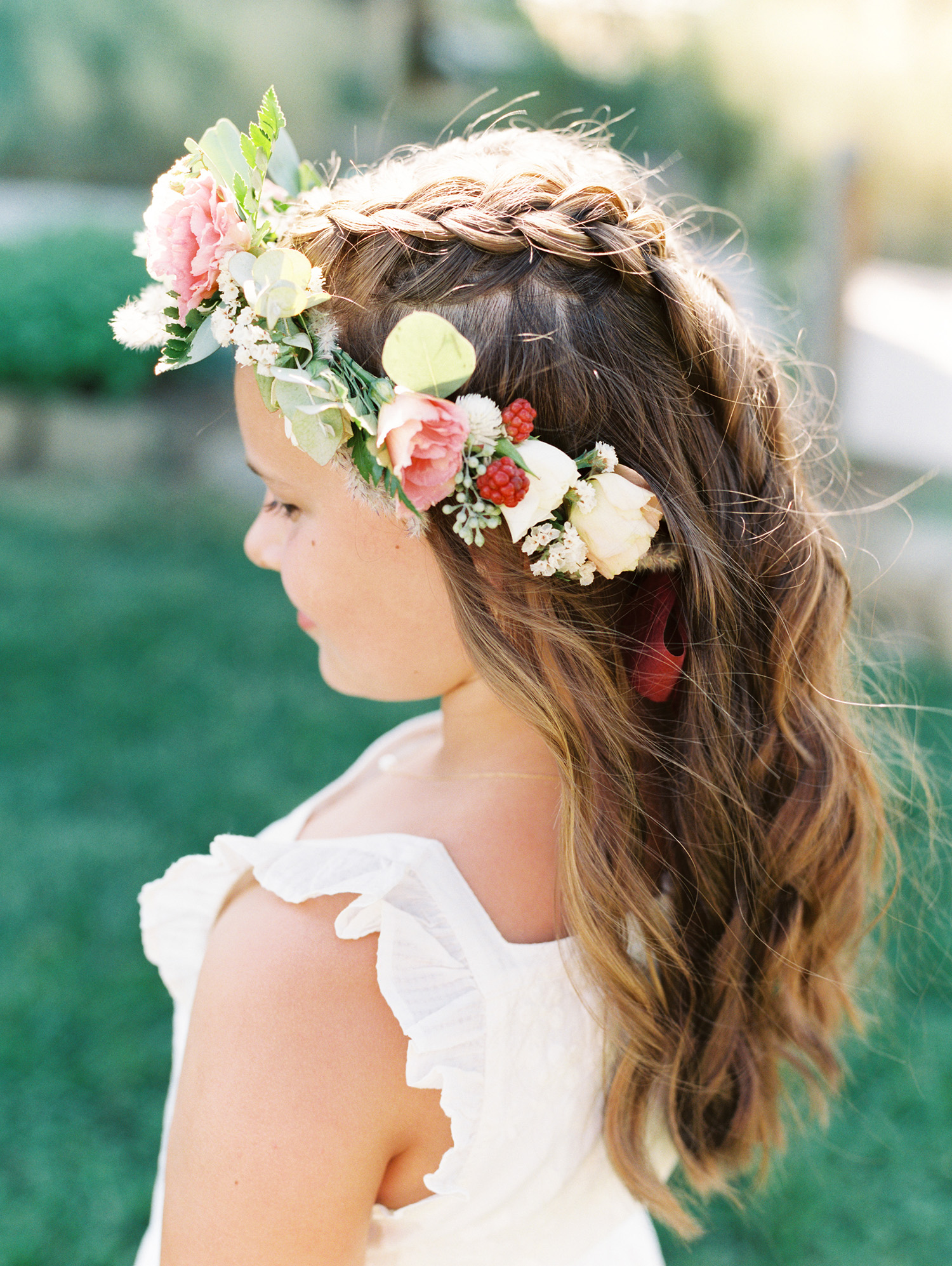 christina ken wedding flower girl hair