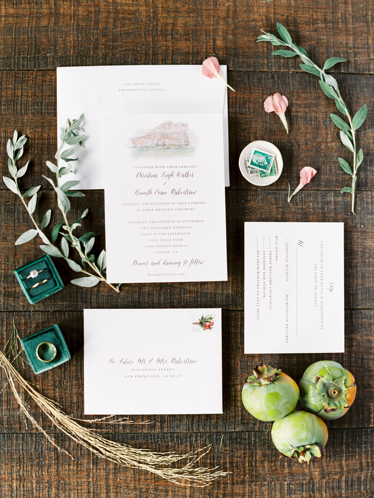 christina ken wedding invites and stationery