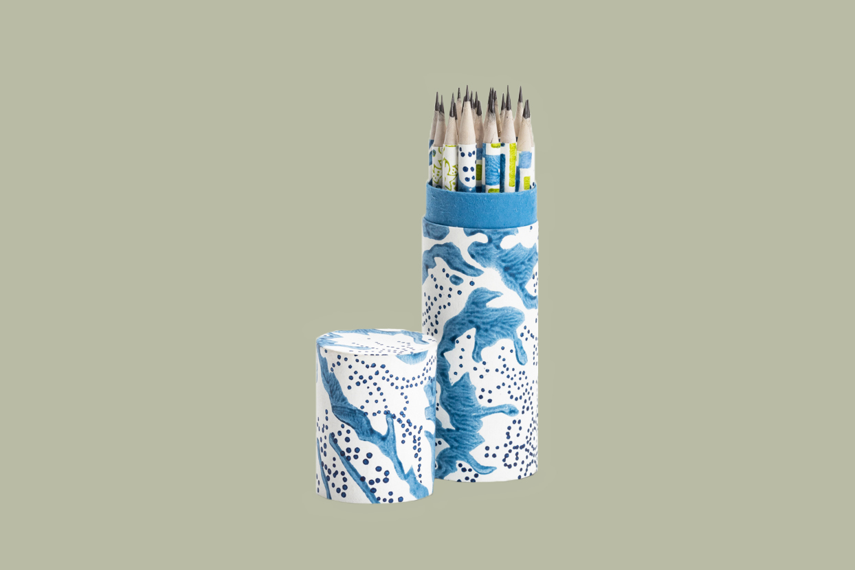 blue and green patterned pencils