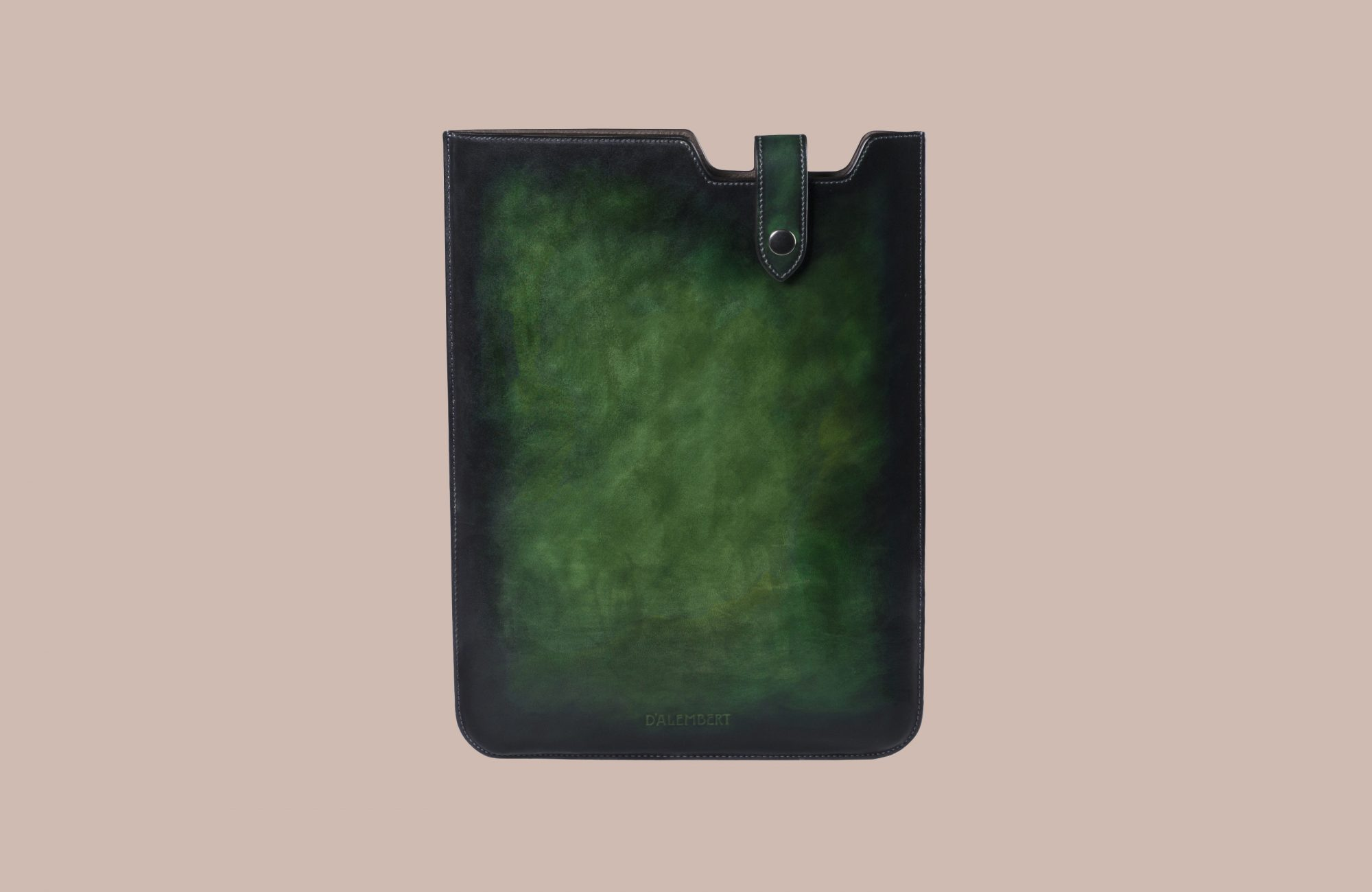 green leather laptop sleeve