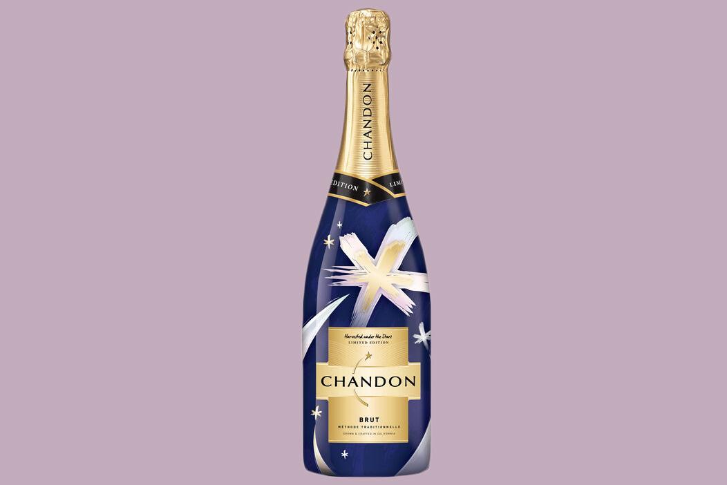 chandon drink blue bottle gold foil top