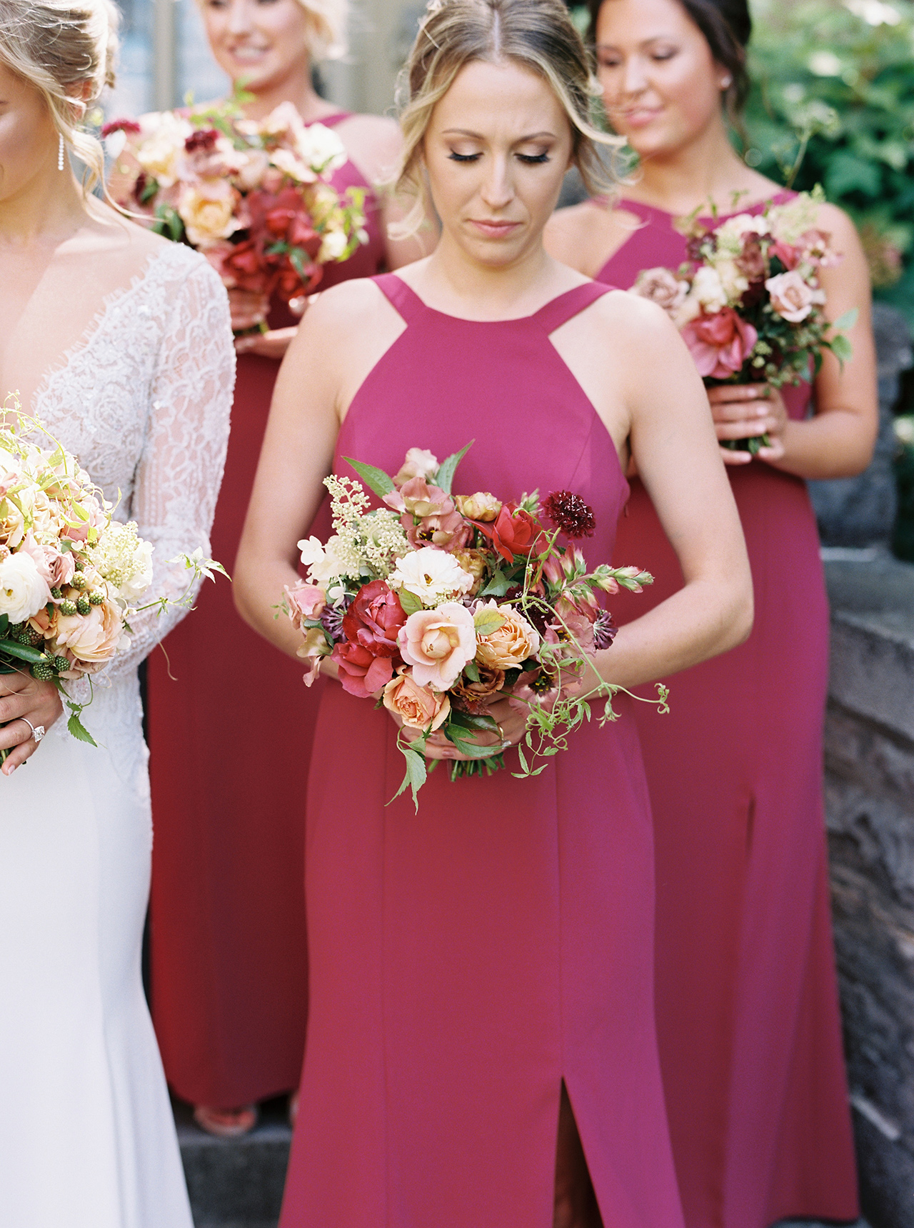 bridesmaids raspberry colored dresses