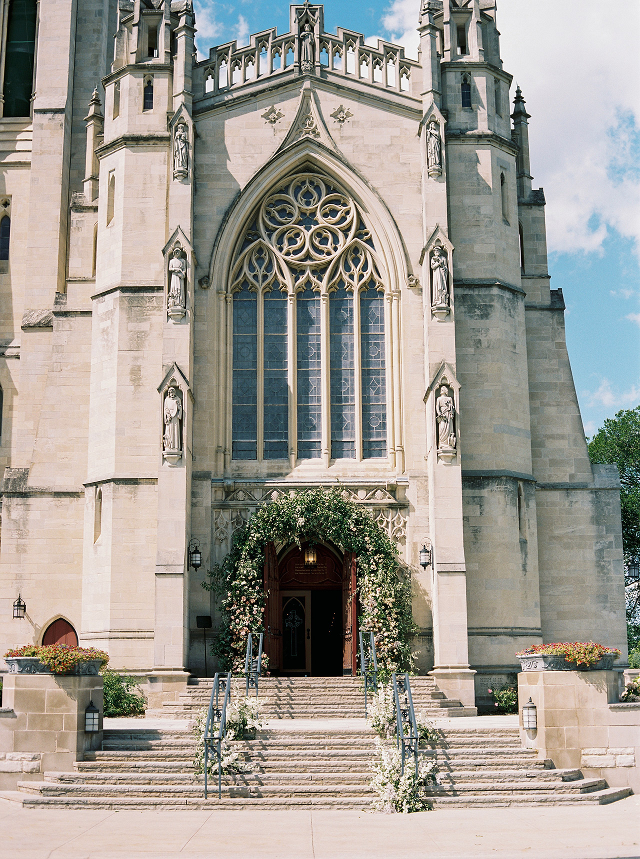 gothic-style church front cathedral floral arrangements