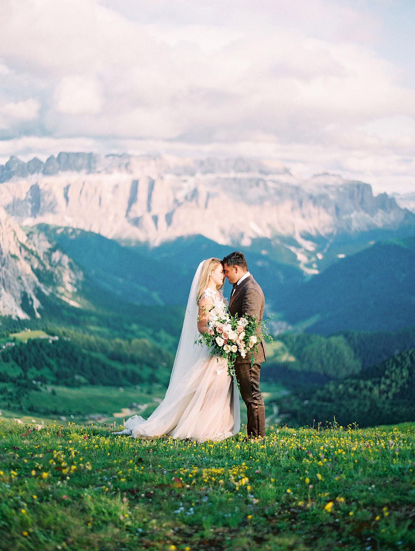 julia franz wedding couple touching foreheads