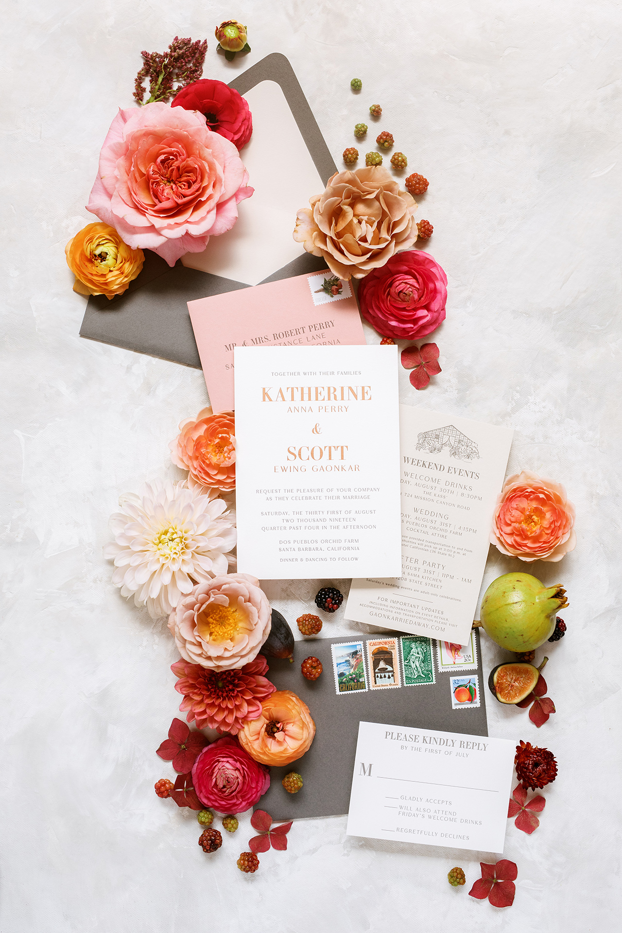 invitation suite letter pressed rose gold foil